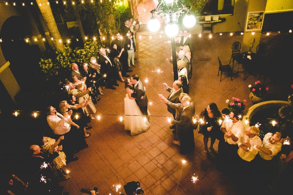 Aerial shot of bride and groom kissing during sparkler sendoff
