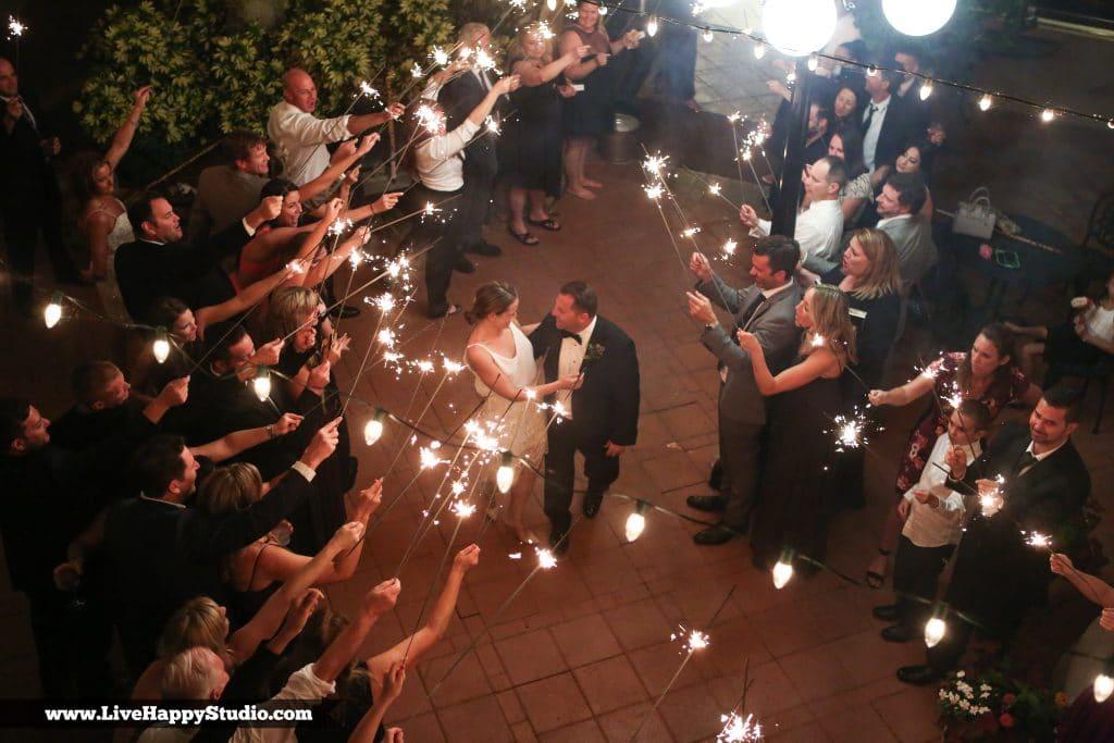 Aerial shot of bride and groom during sparkler sendoff