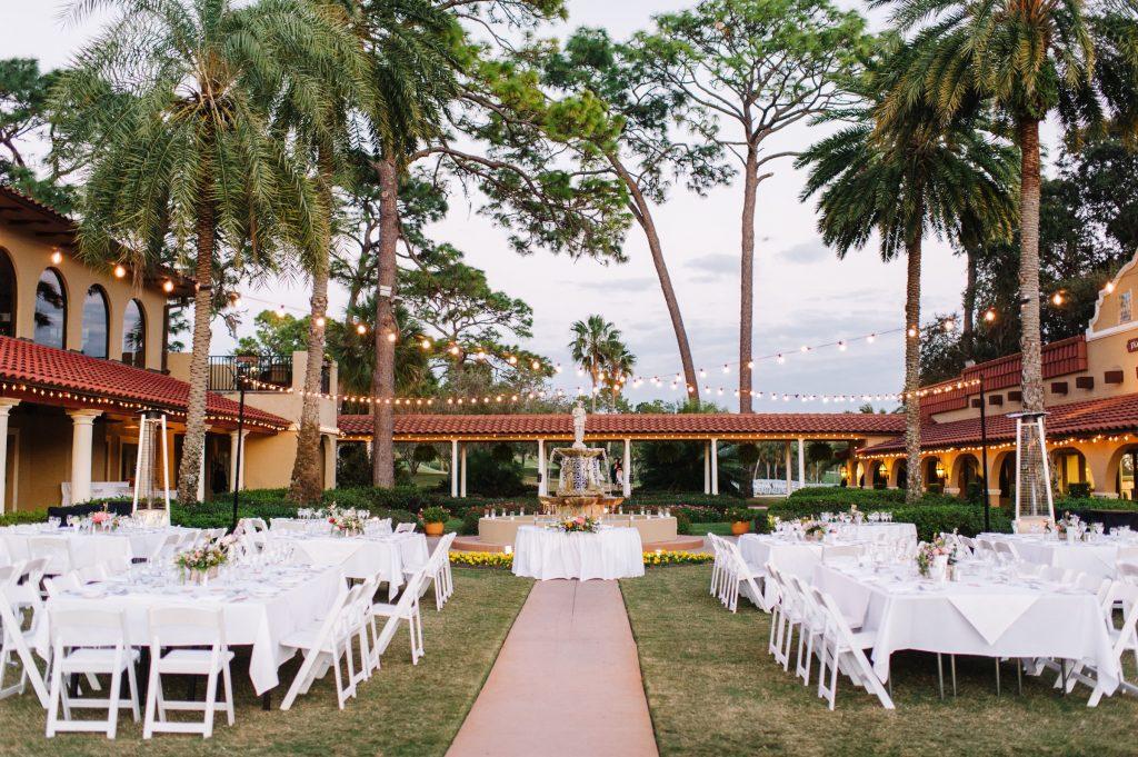 outdoor reception set up at Plaza de la Fontana
