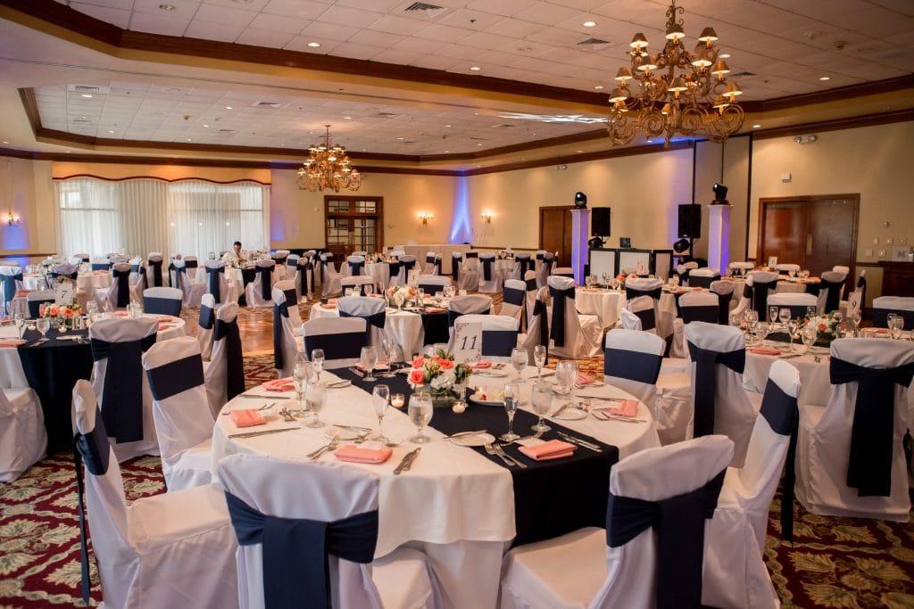 Legends Ballroom set up in elegant color scheme of navy and pink
