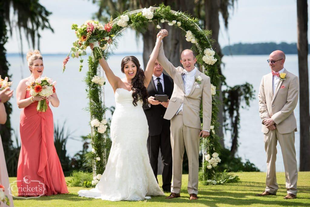 Marina del Rey - newlyweds cheering