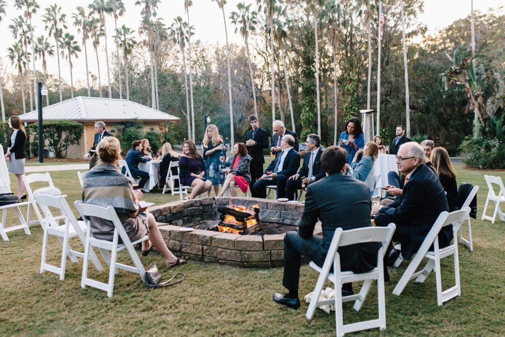 Wedding guests around the firepit at Marina del Rey