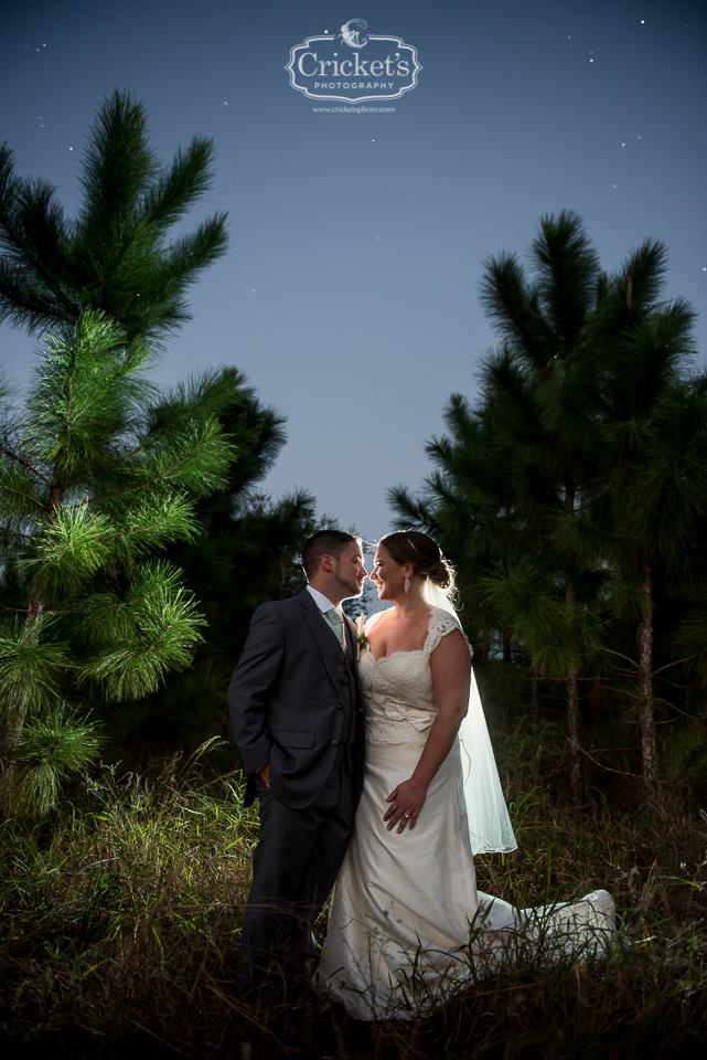 Bride and groom among pine trees at night