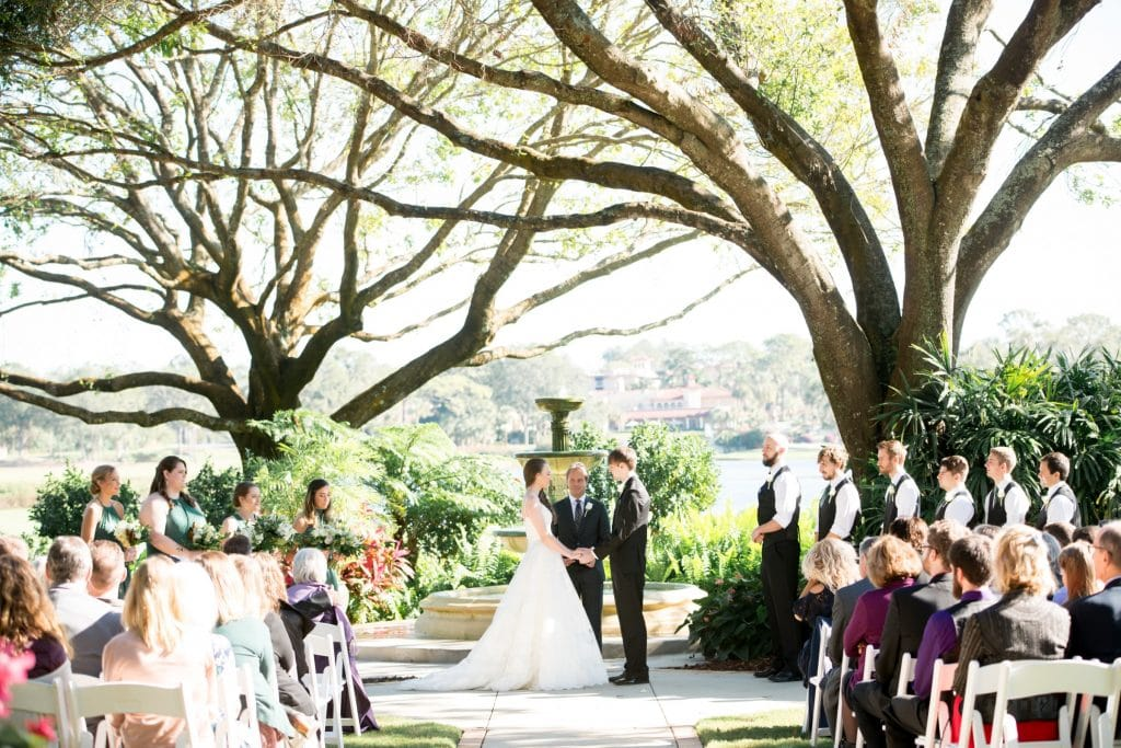 Legends Courtyard - wedding ceremony next to fountain