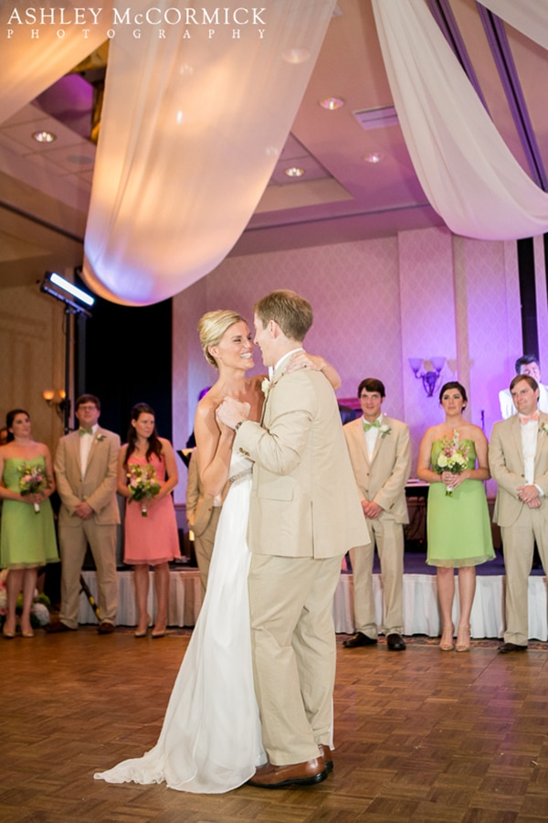 Audrey and Brad's first dance under dramatic ceiling draping