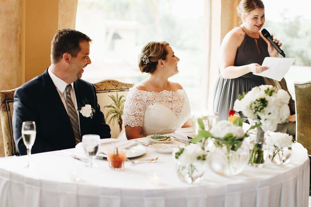 El Conquistador - maid of honor toasting happy couple