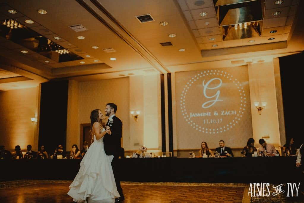 The Grand Ballroom - first dance with projected couple's monogram
