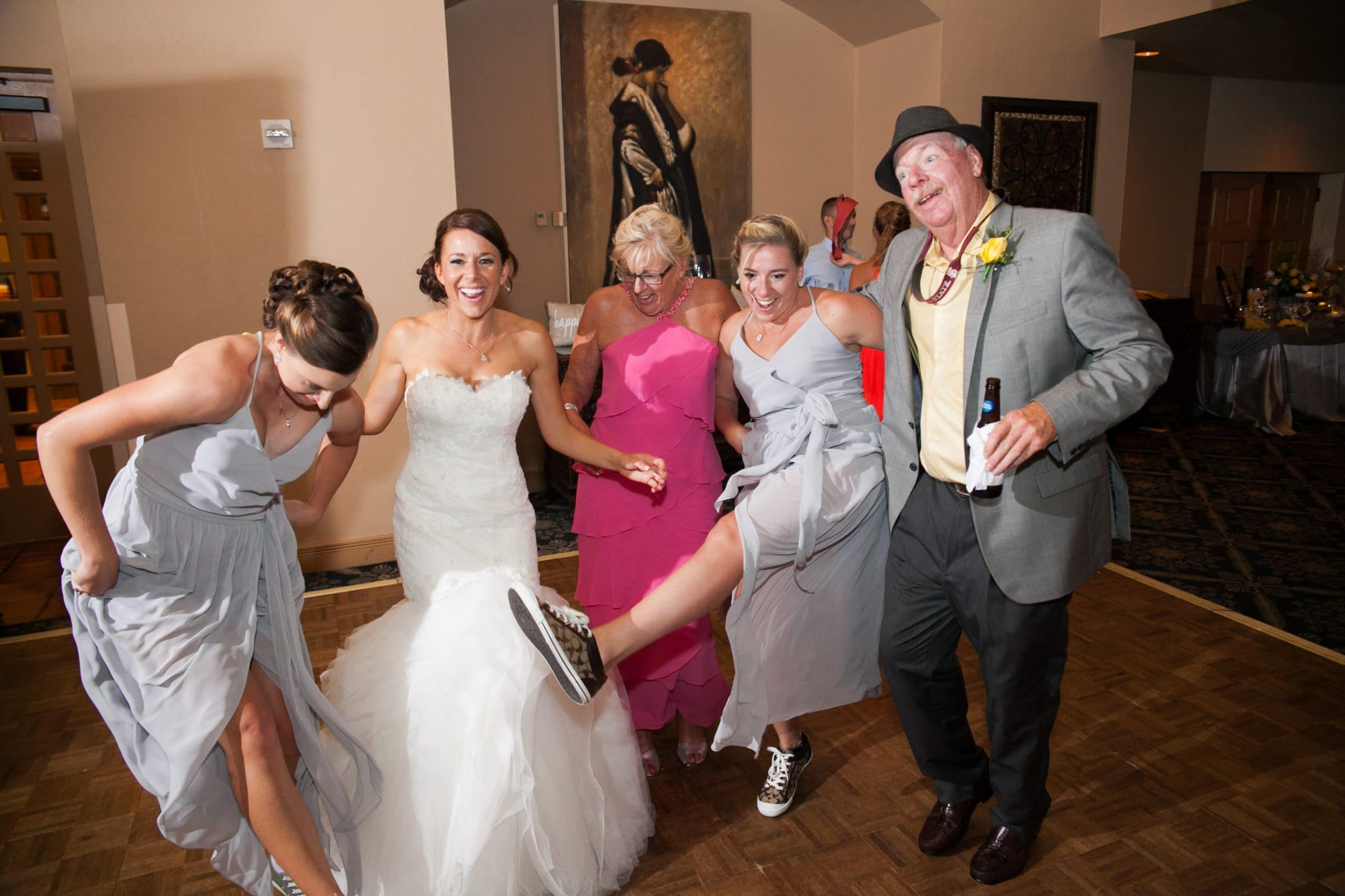 Bride being silly with guests