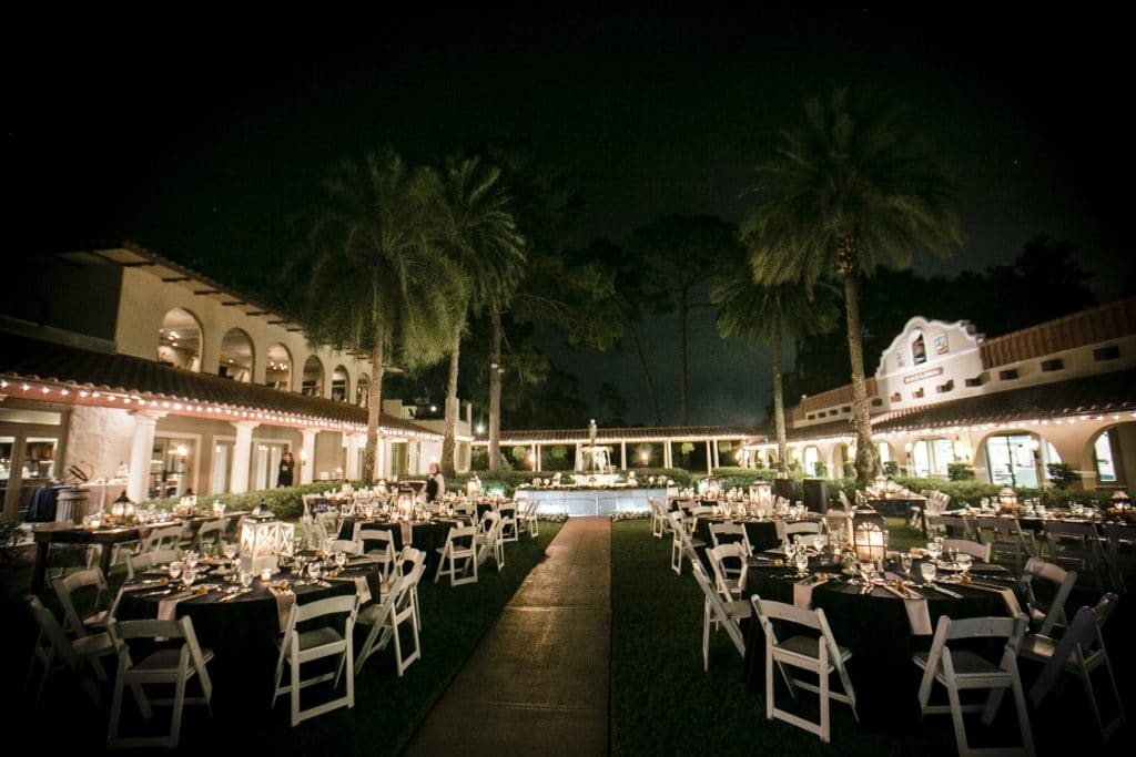 nighttime at Plaza de la Fontana wedding reception