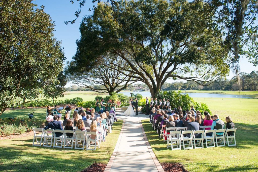 Legends Courtyard - stunning wedding ceremony location under oak tree