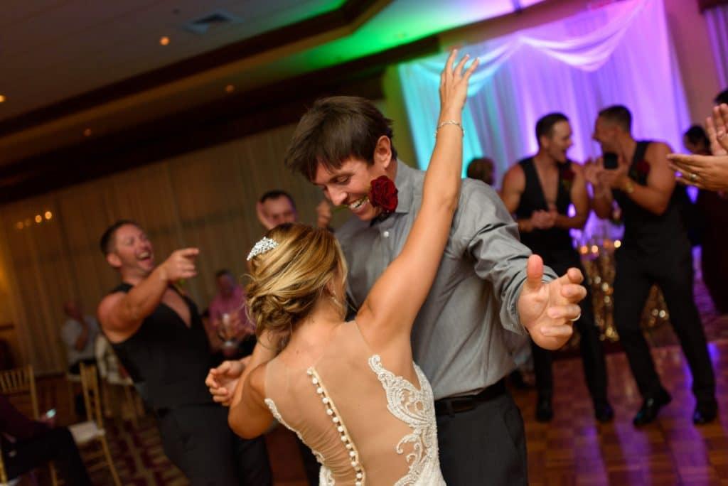 Bride and groom dancing at Legends Ballroom
