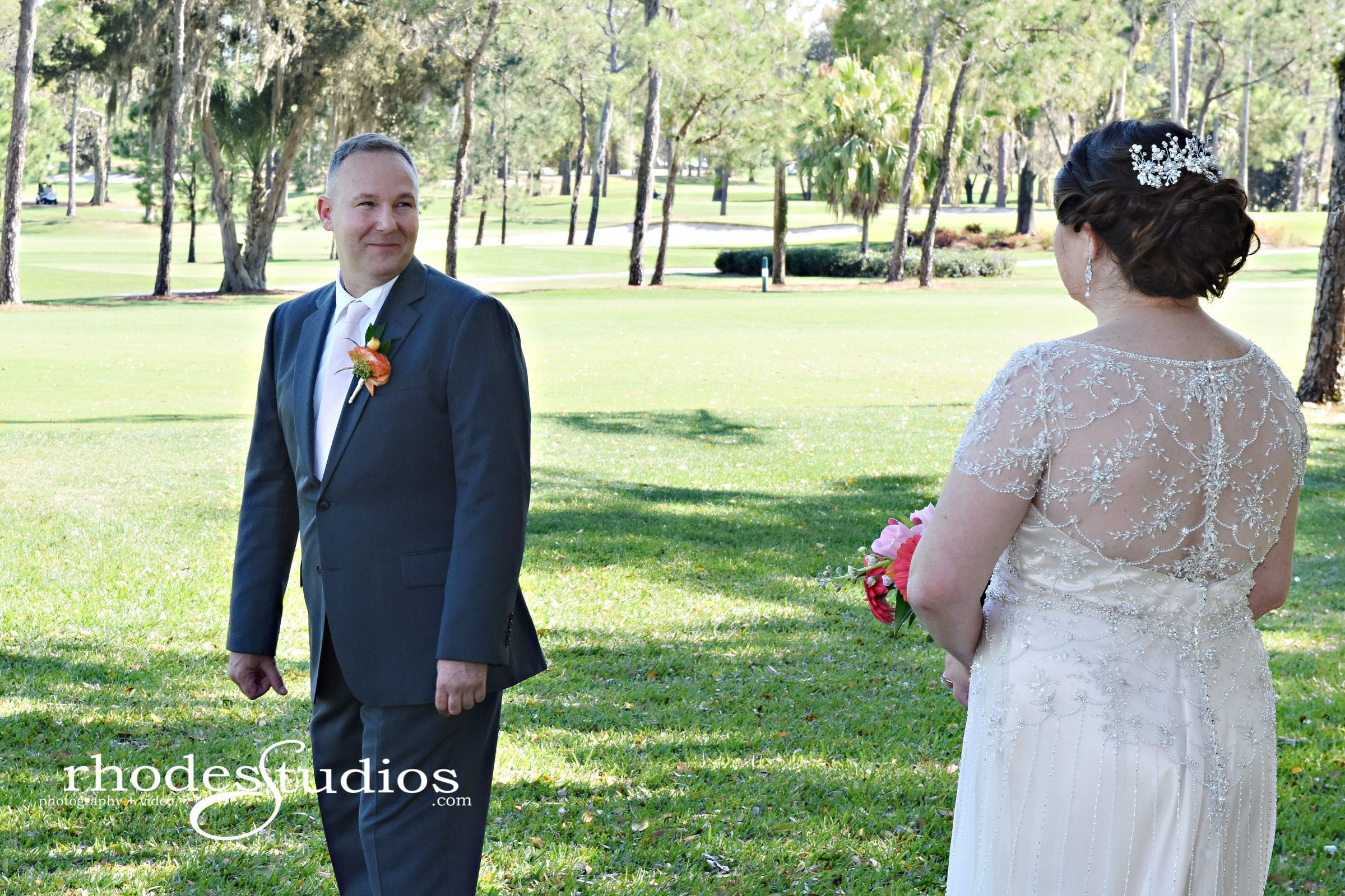 Groom turning around to see bride for first time