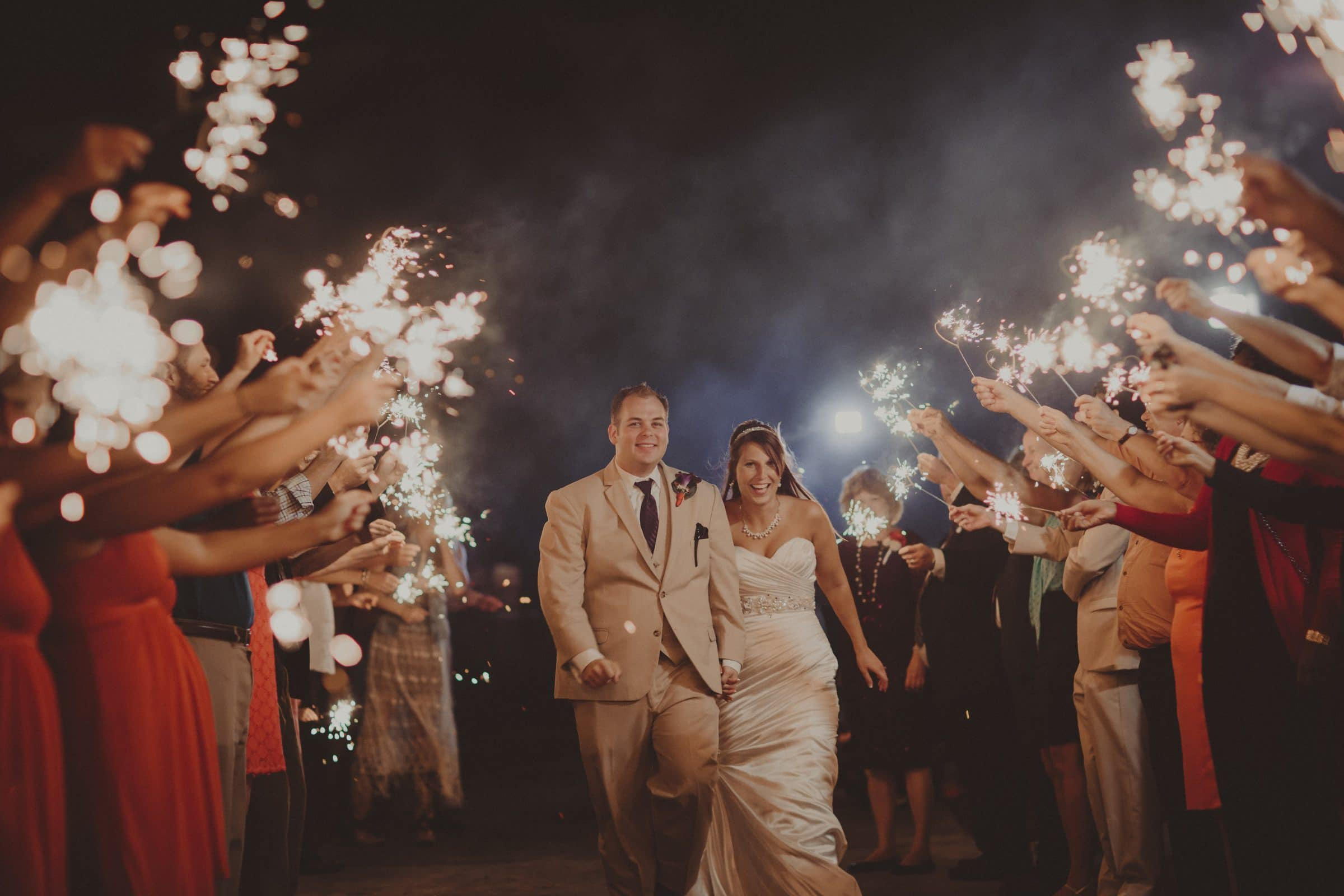 The Gaultneys during their sparkler sendoff at Mission Inn