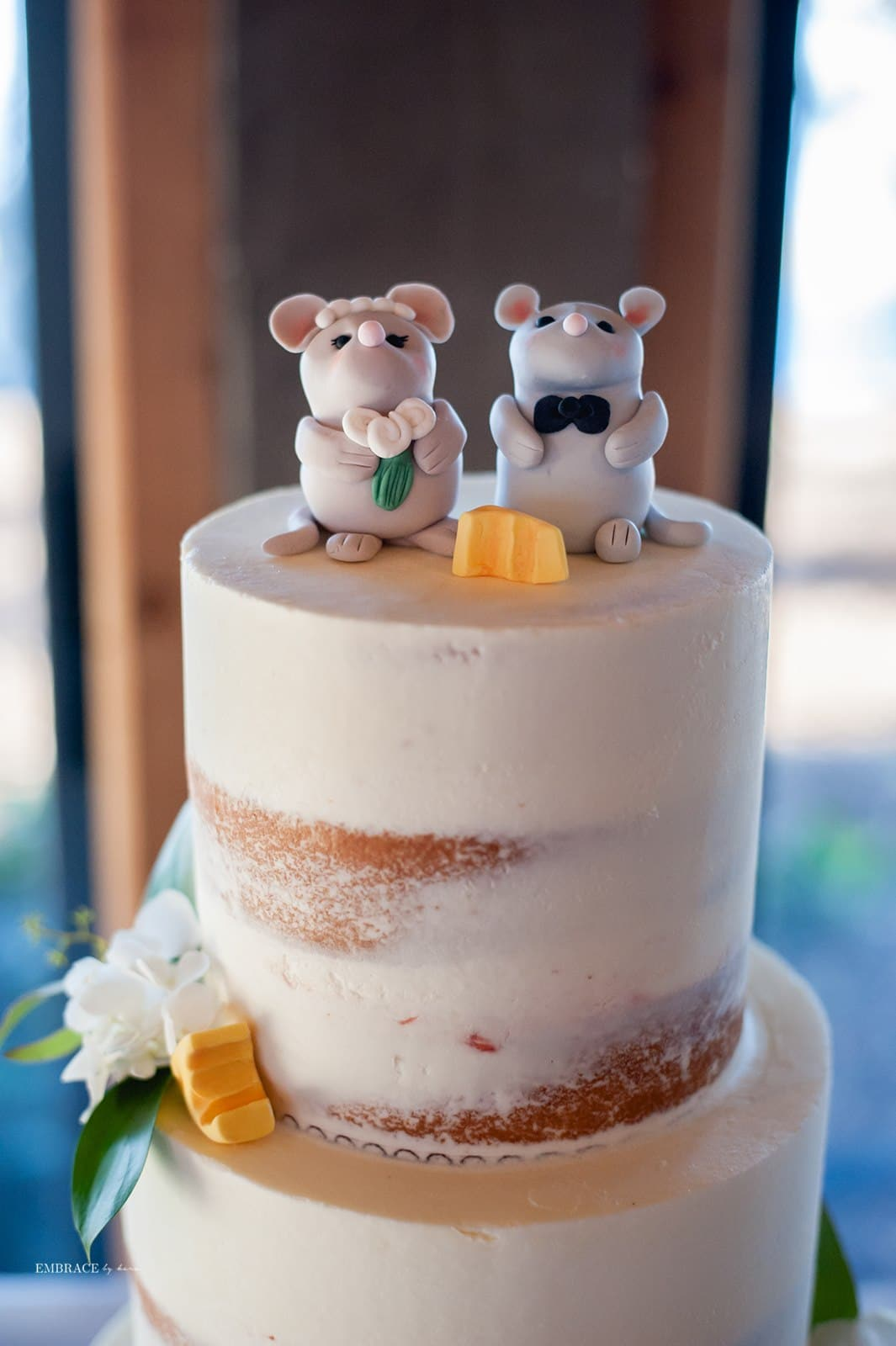 semi-naked wedding cake with fondant mouse bride and groom cake topper