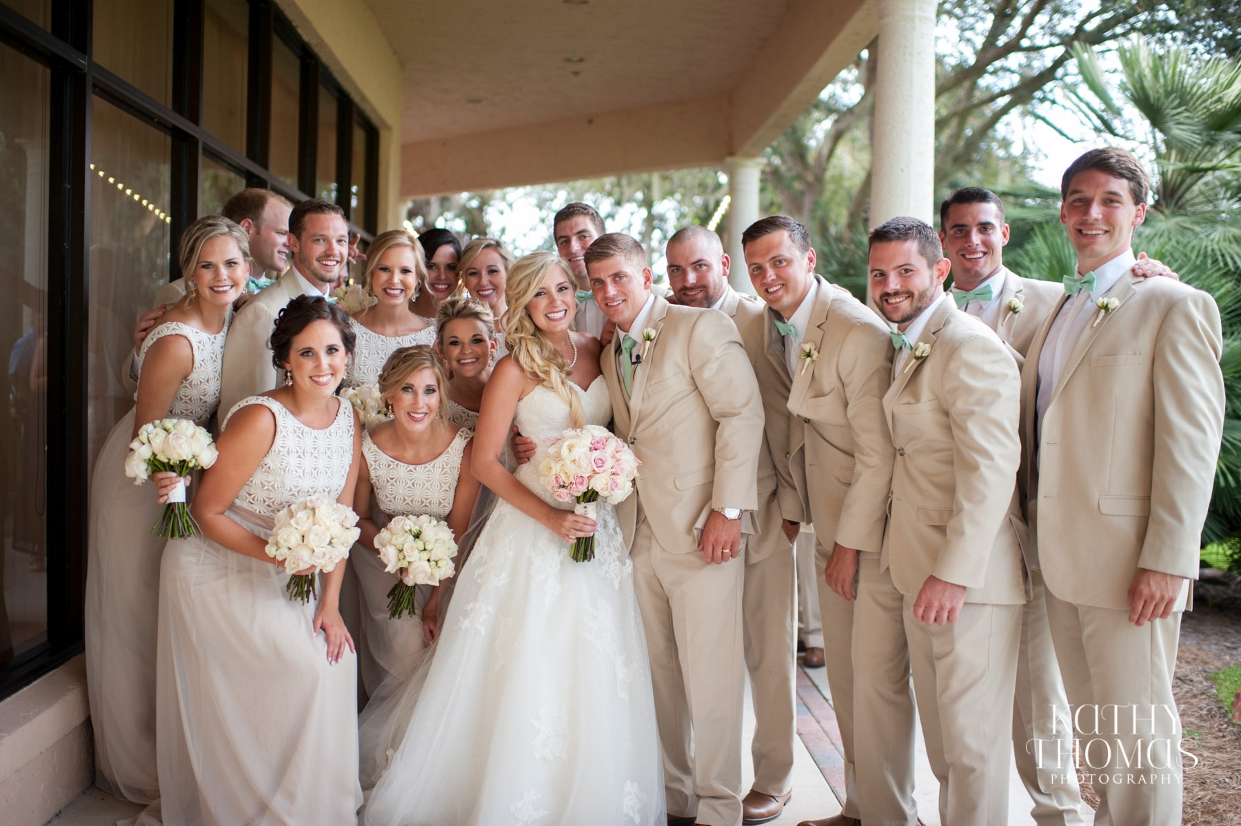 Wedding party under covered porch at Mission Inn Resort