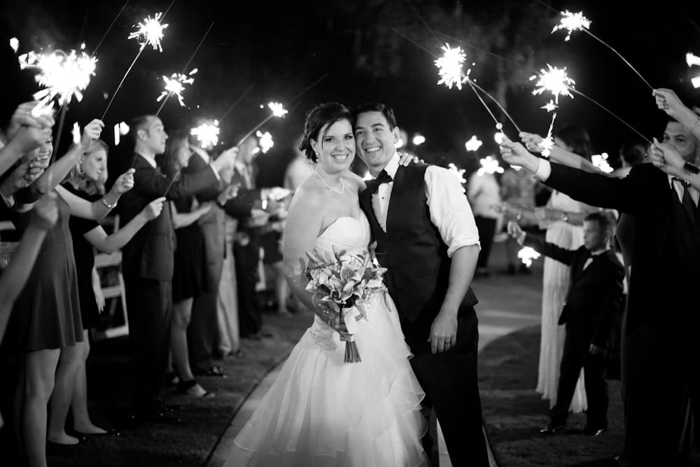 Bride and groom's nighttime sparkler send off