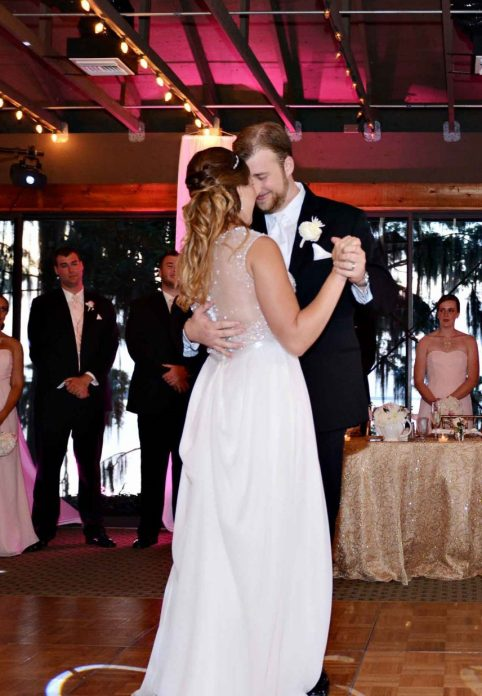 Bride and groom's first dance at Marina del Rey