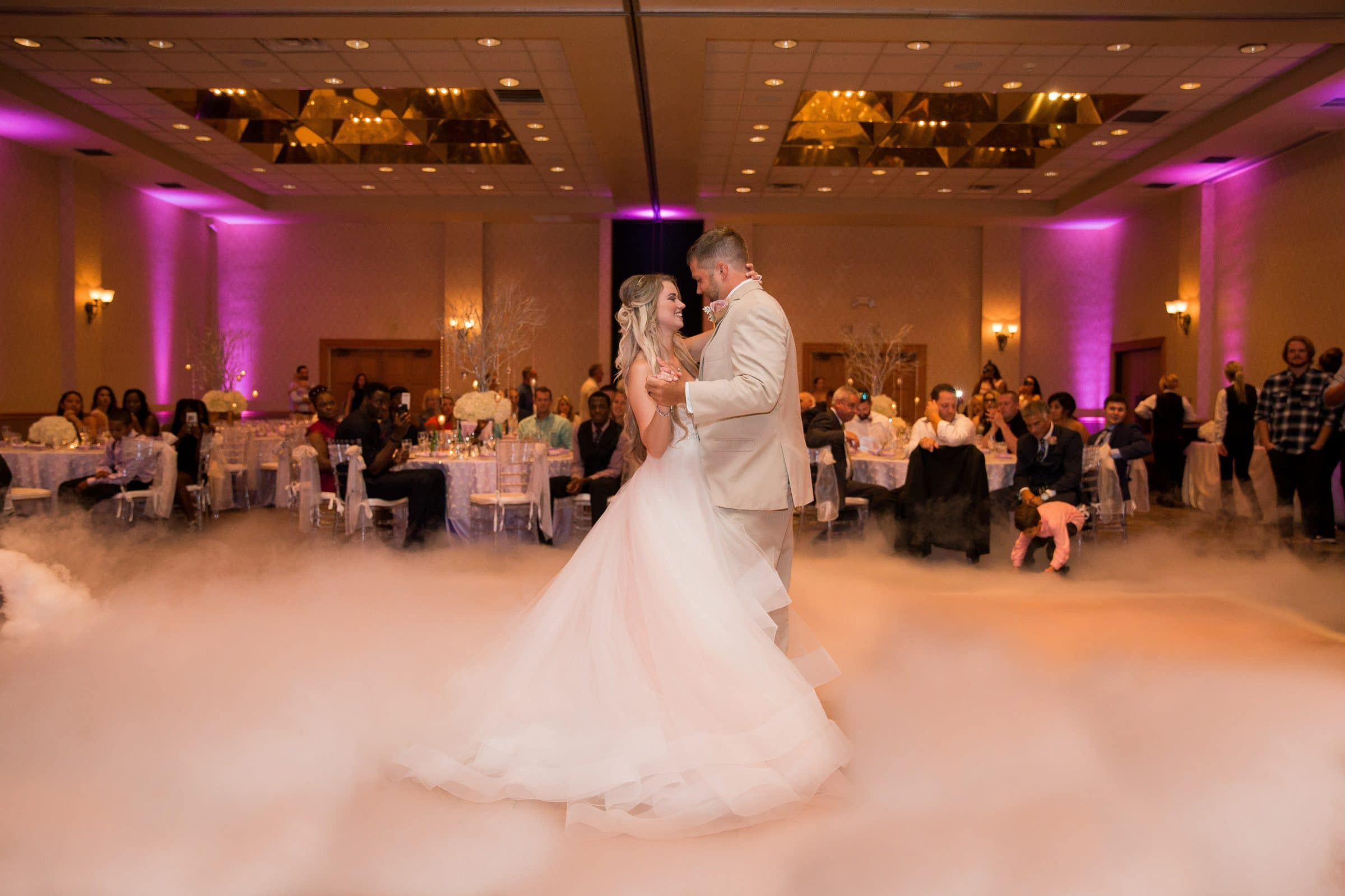 Bride and groom's first dance on a cloud at Mission Inn Wedding