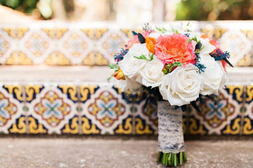 bright bouquet on spanish tile steps