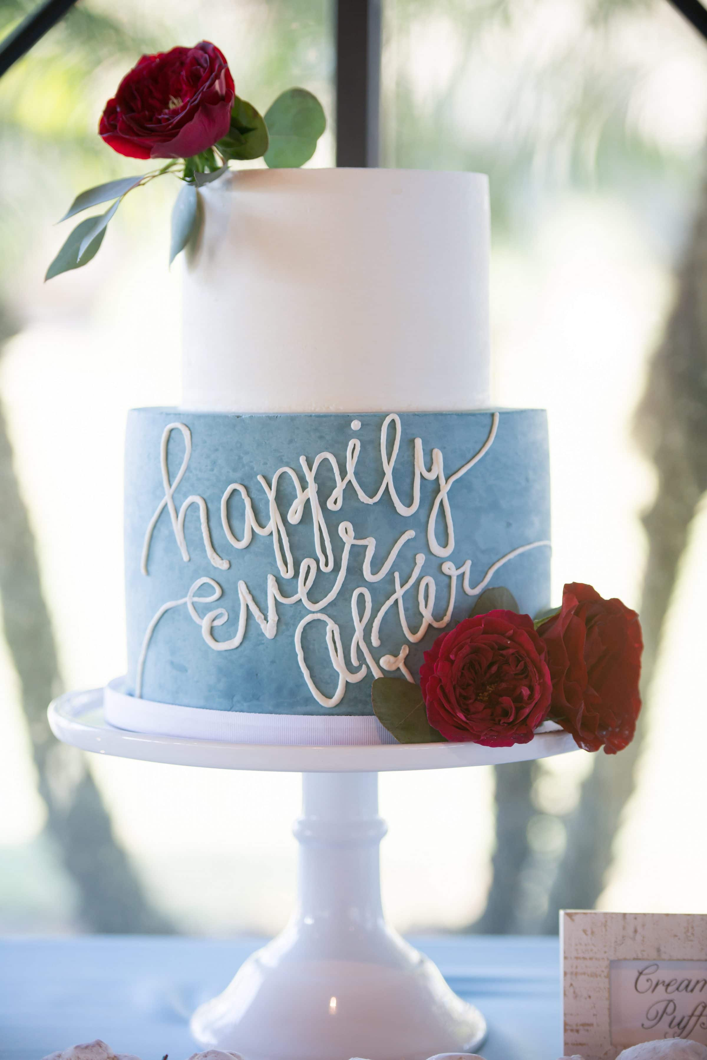 "wedding cake with ""happily ever after"" script"