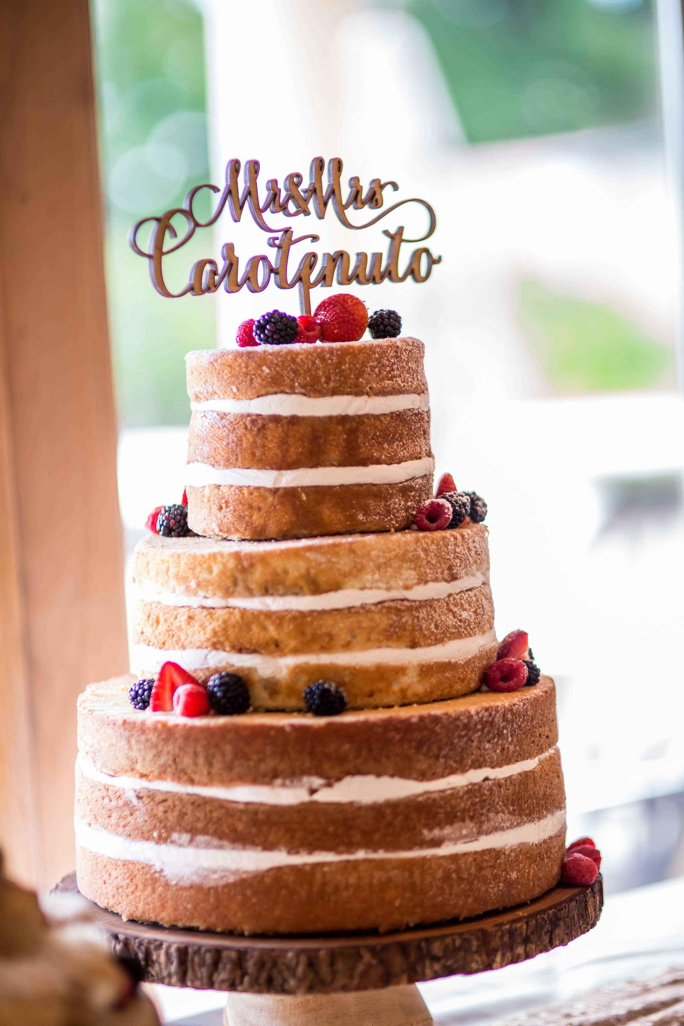 Naked cake with script cake topper