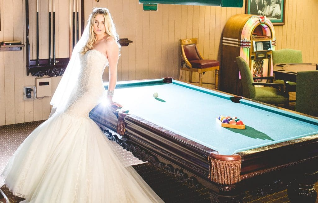 Bride next to pool table