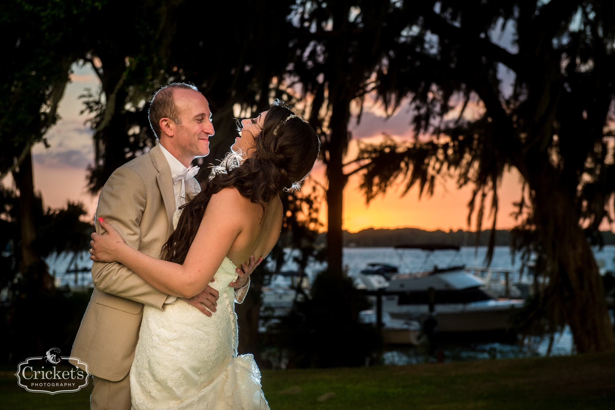 Bride and groom at Marina del Rey at sunset