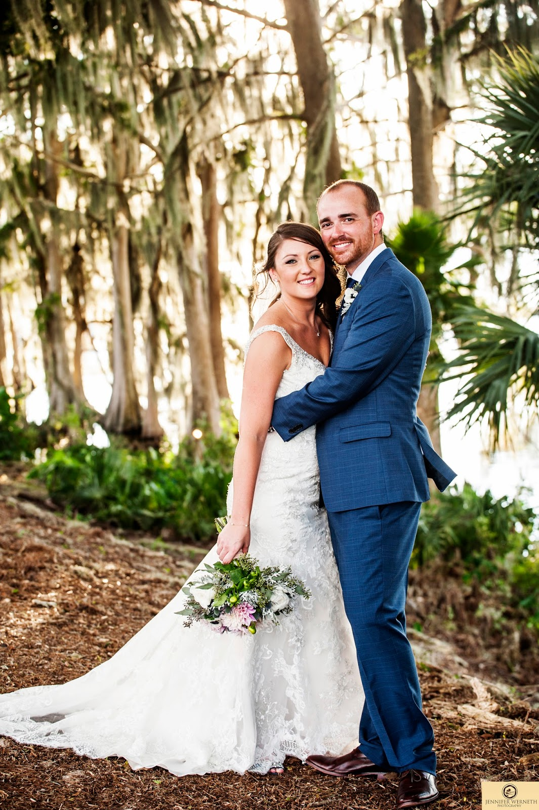 Formal photo of bride and groom in Florida forest