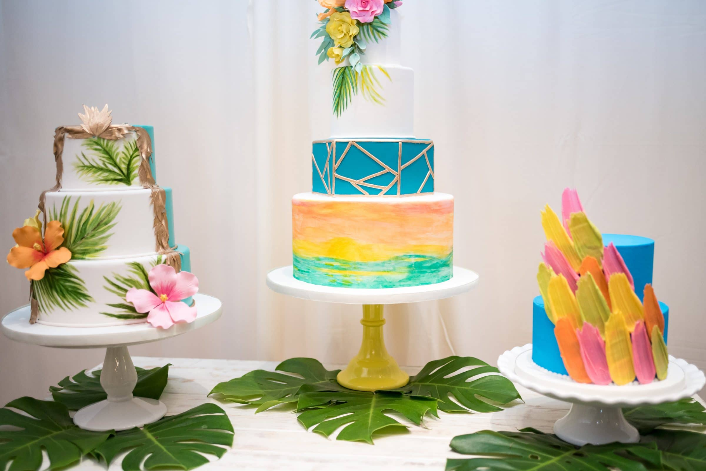 Three Tropical Wedding Cakes