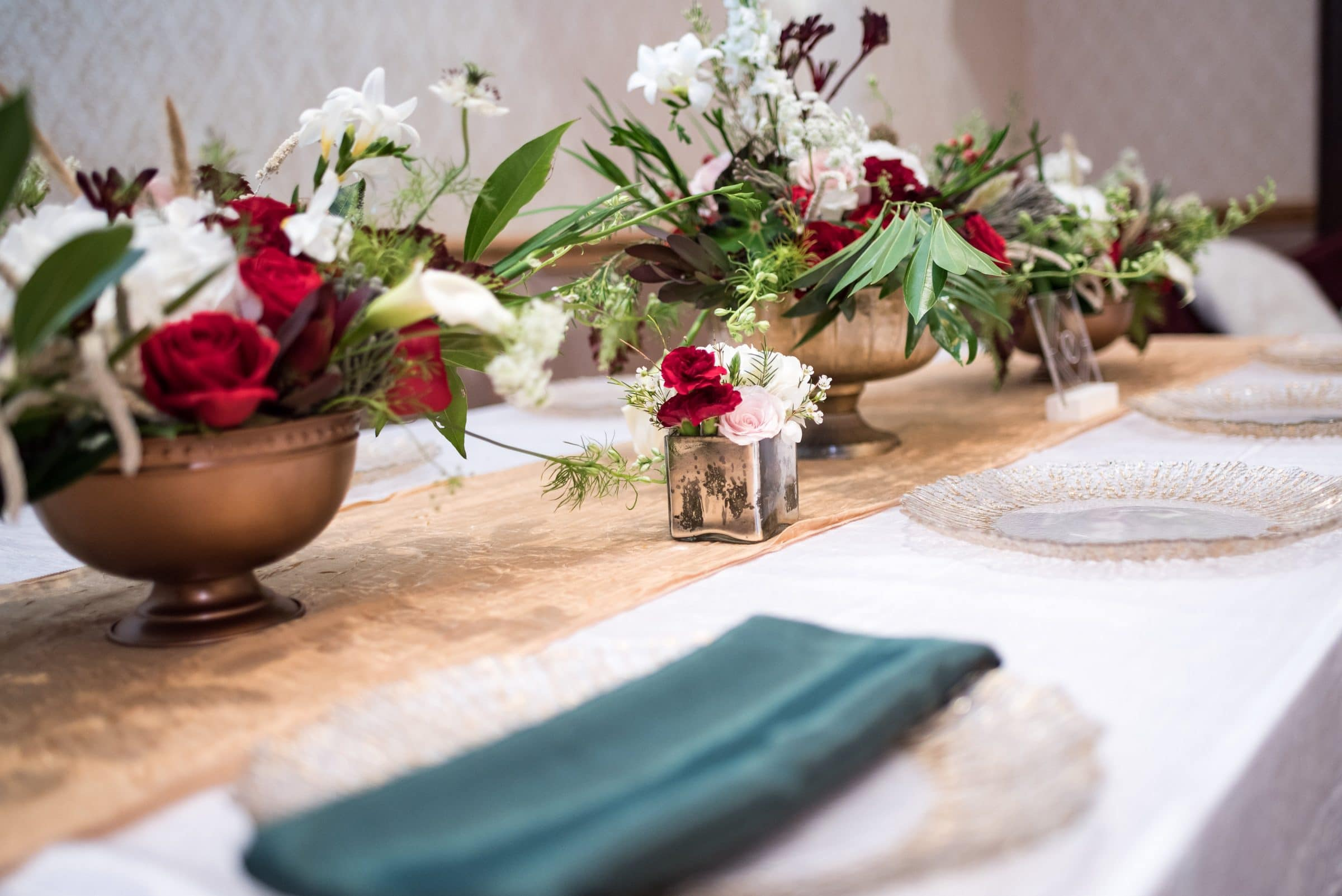 White and Red Floral with Greenery