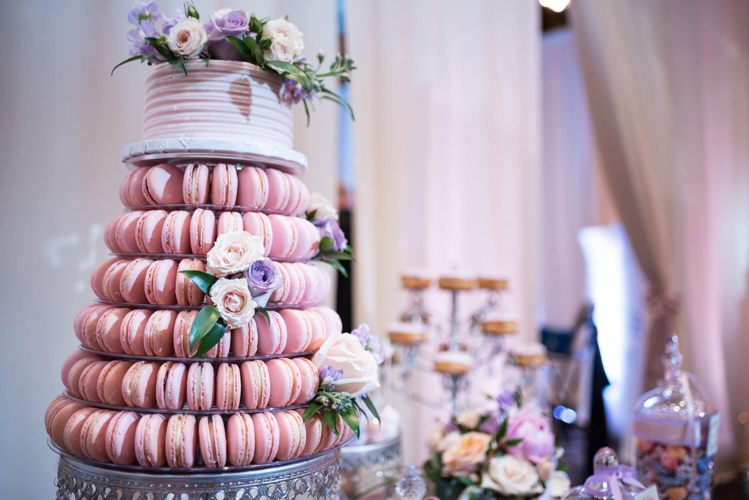 Macaroon with wedding cake for venue tour