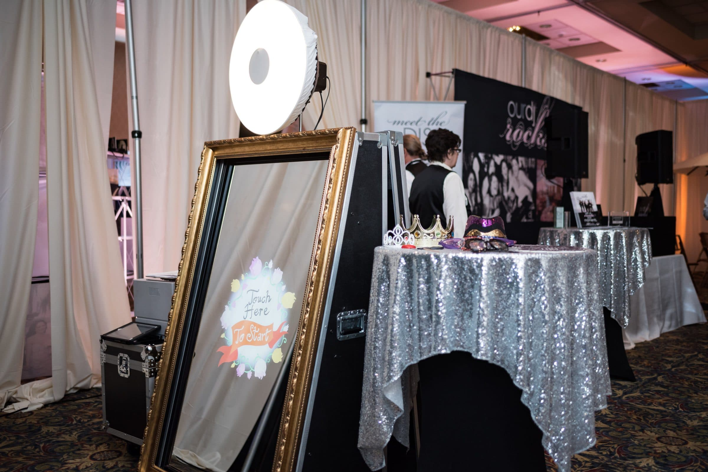 Photo booth Mirror and Table with Silver Sequin Linen