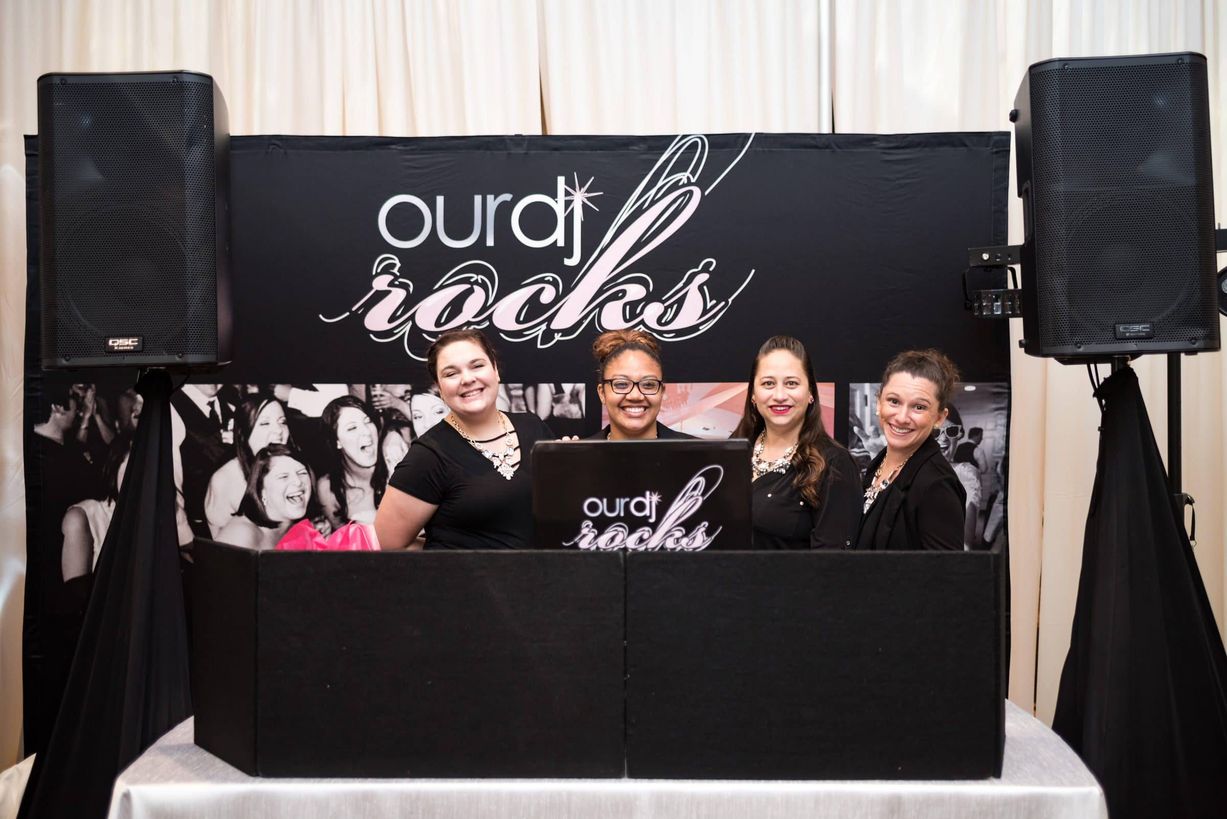 Our DJ Rocks Wedding Show Booth with Four Female DJS
