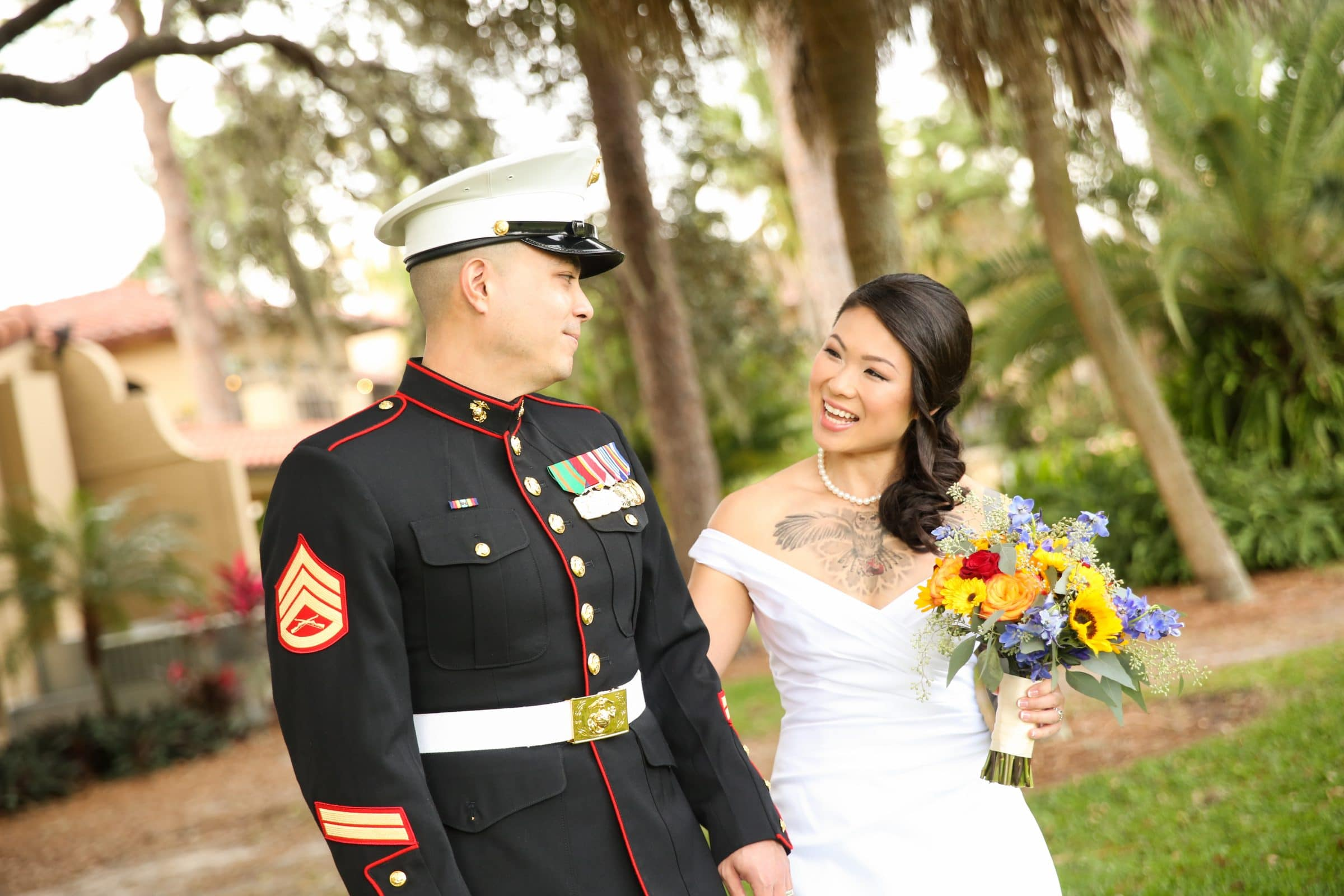 Military Groom and Bride Holding Fragrant Fall Wedding Bouquet