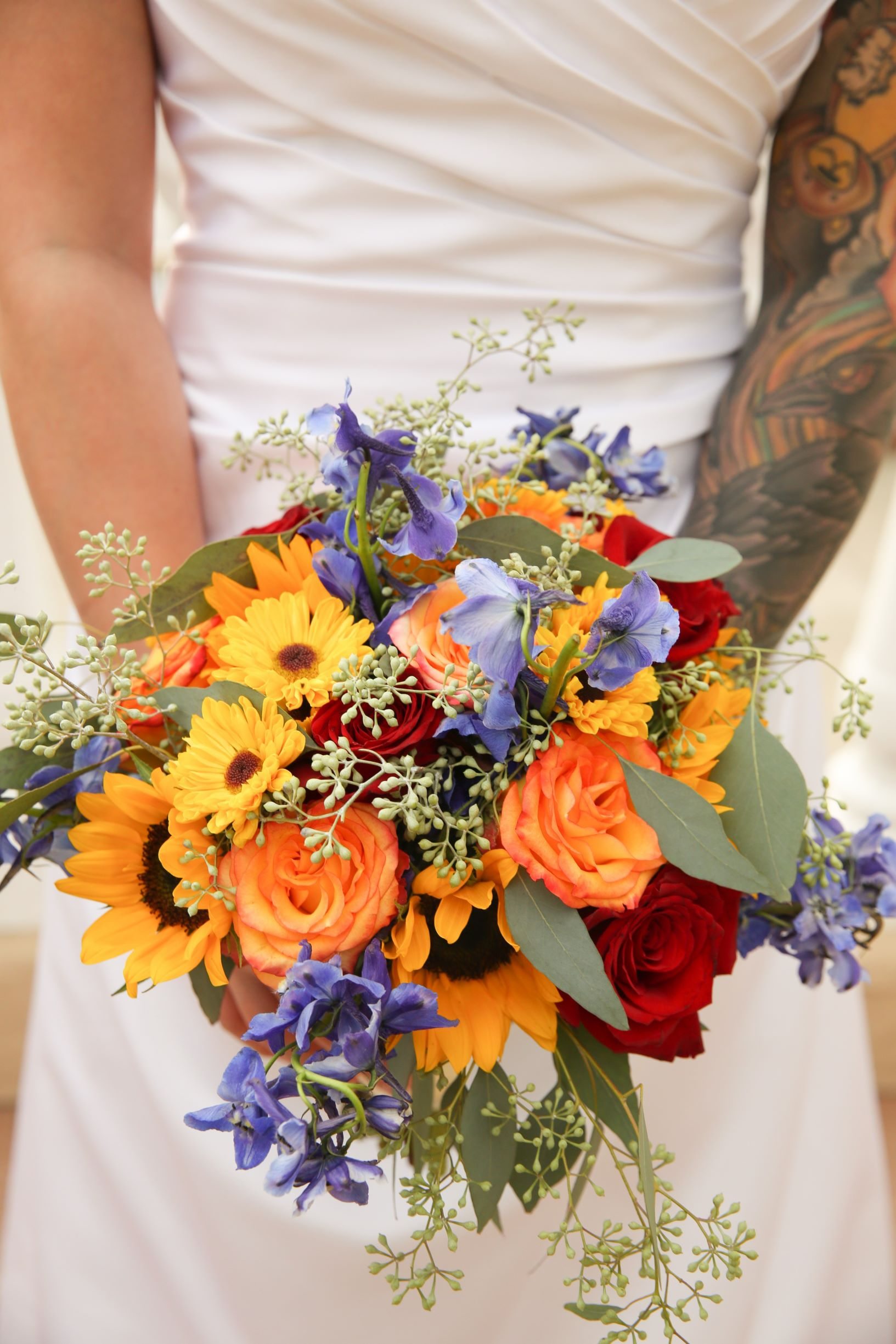 Fragrant Fall Wedding Bouquet with Sunflowers