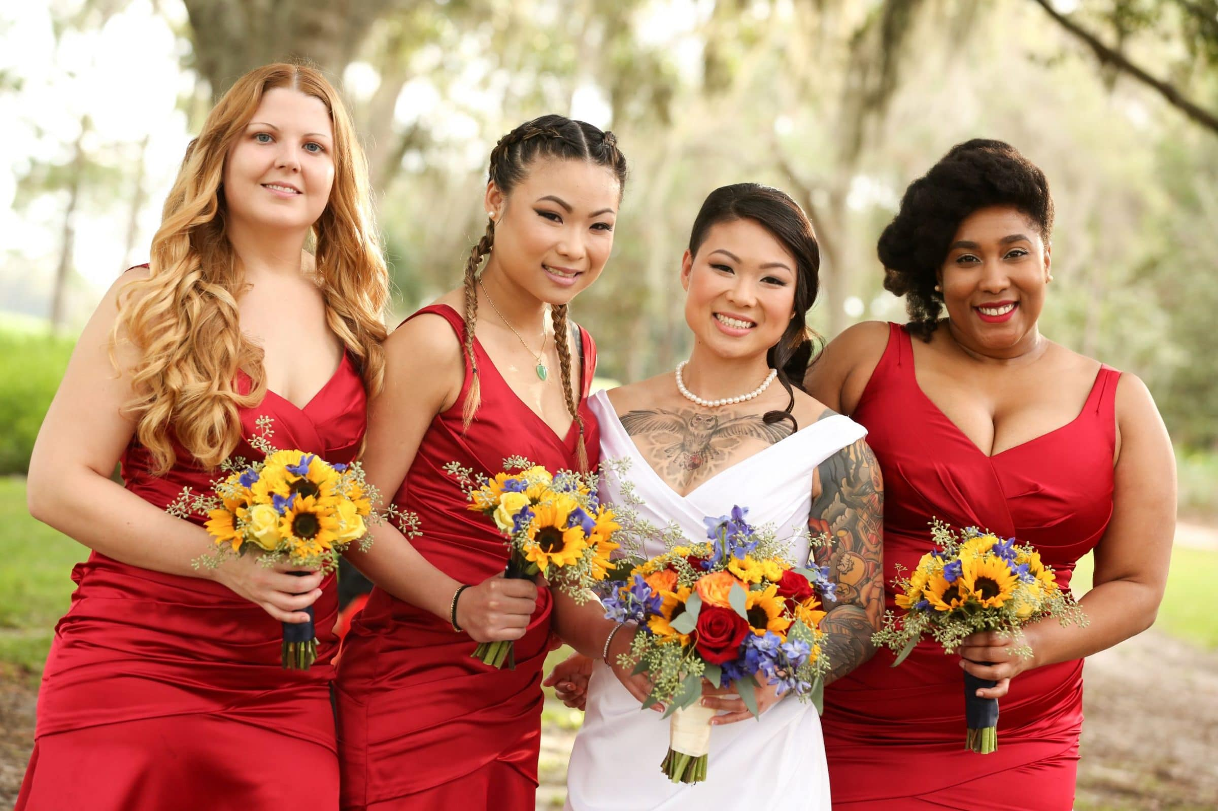 Fragrant Fall Wedding Bouquet Bridesmaids in Red