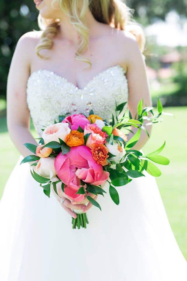 Bride Holding Summer Citrus Wedding Bouquet