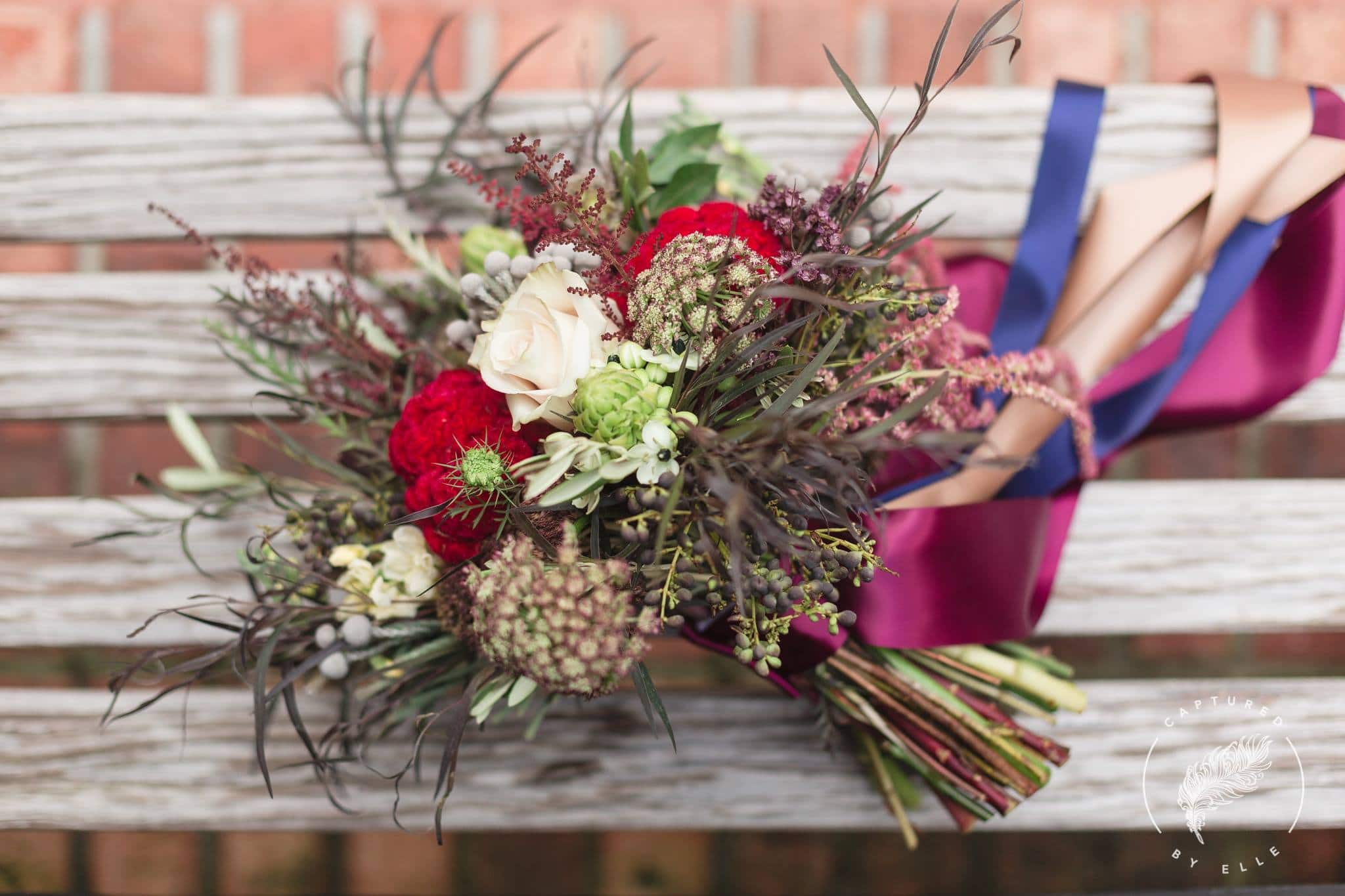 Harvest Hues Wedding Bouquet on Bench