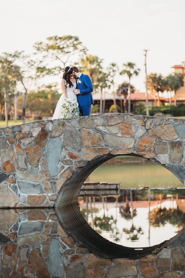 Elegant Earthy Wedding Bouquet on Romantic Stone Bridge