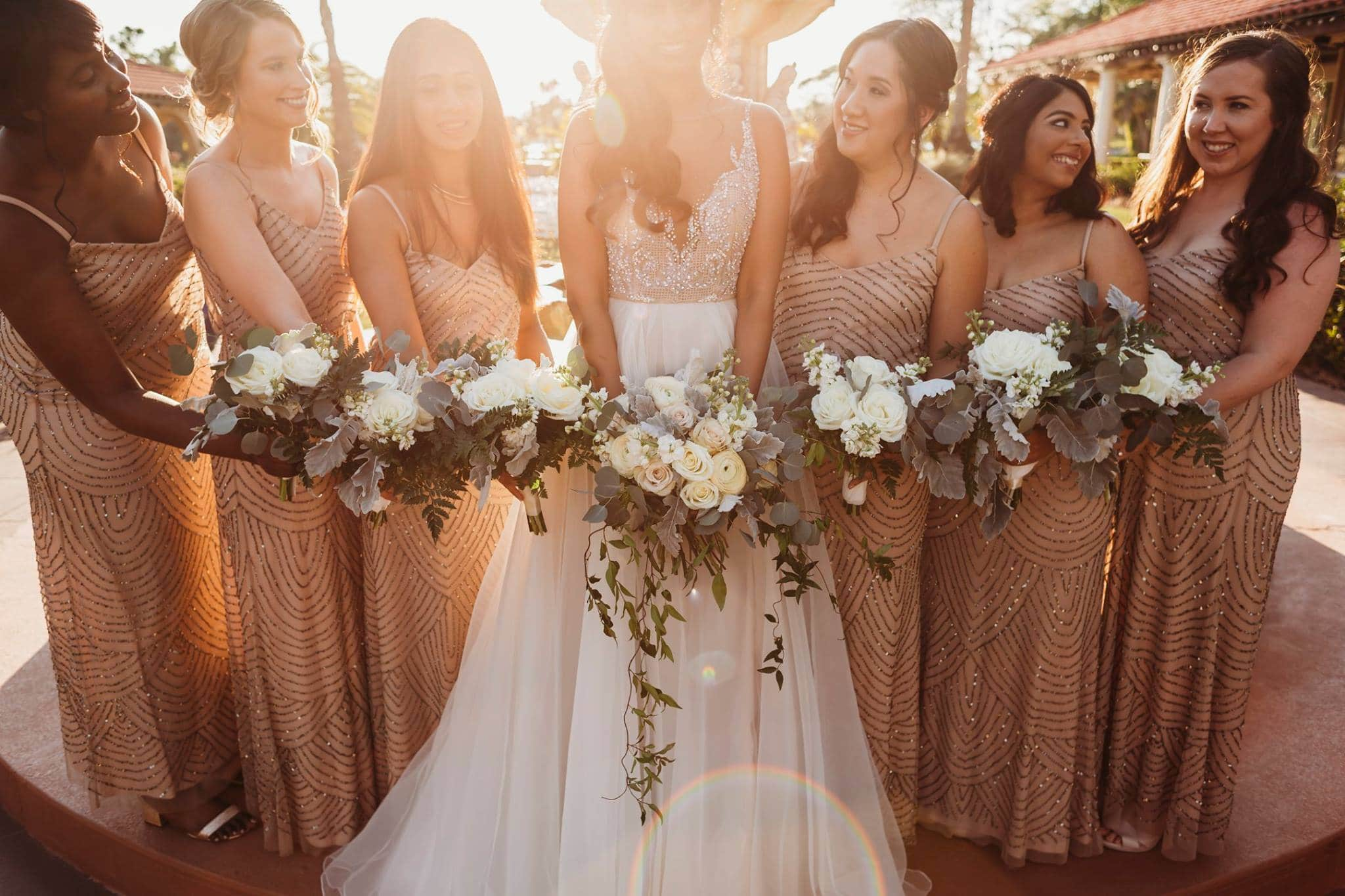 Brides and Bridesmaids holding Elegant Earthy Wedding Bouquet