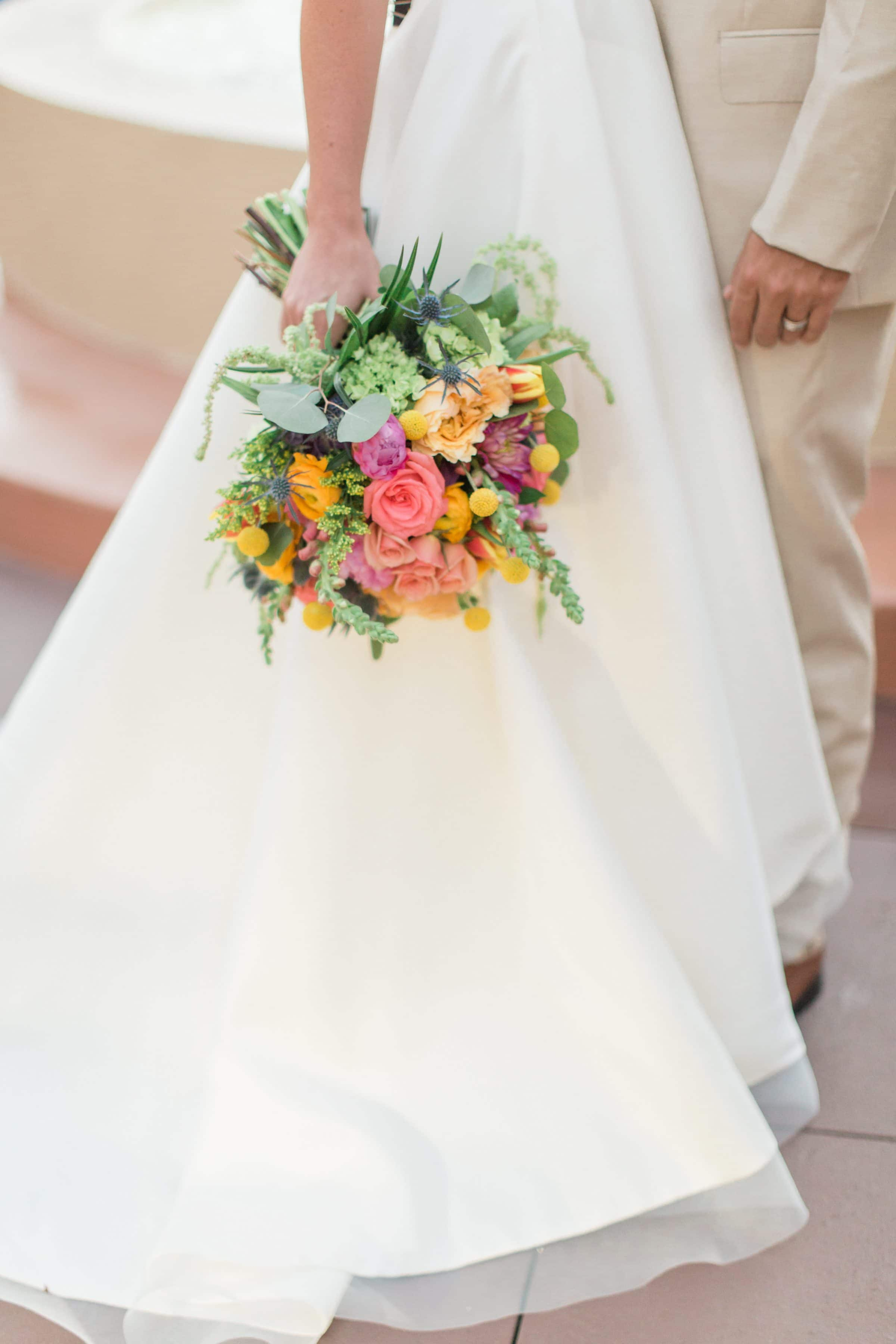 Bride Holding Sensational Spring Wedding Bouquet