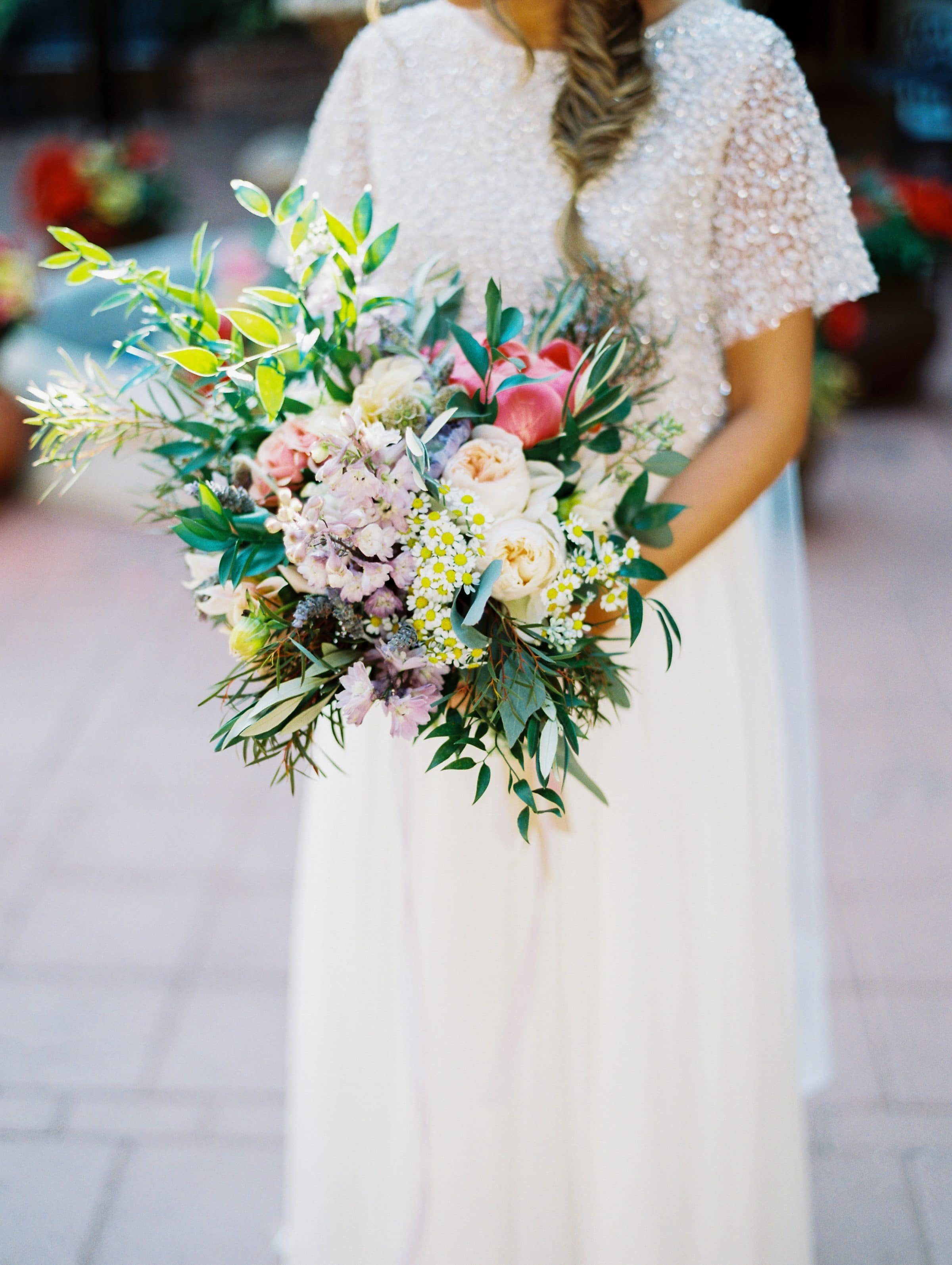 Bride Holding Show Stopping Wedding Bouquet
