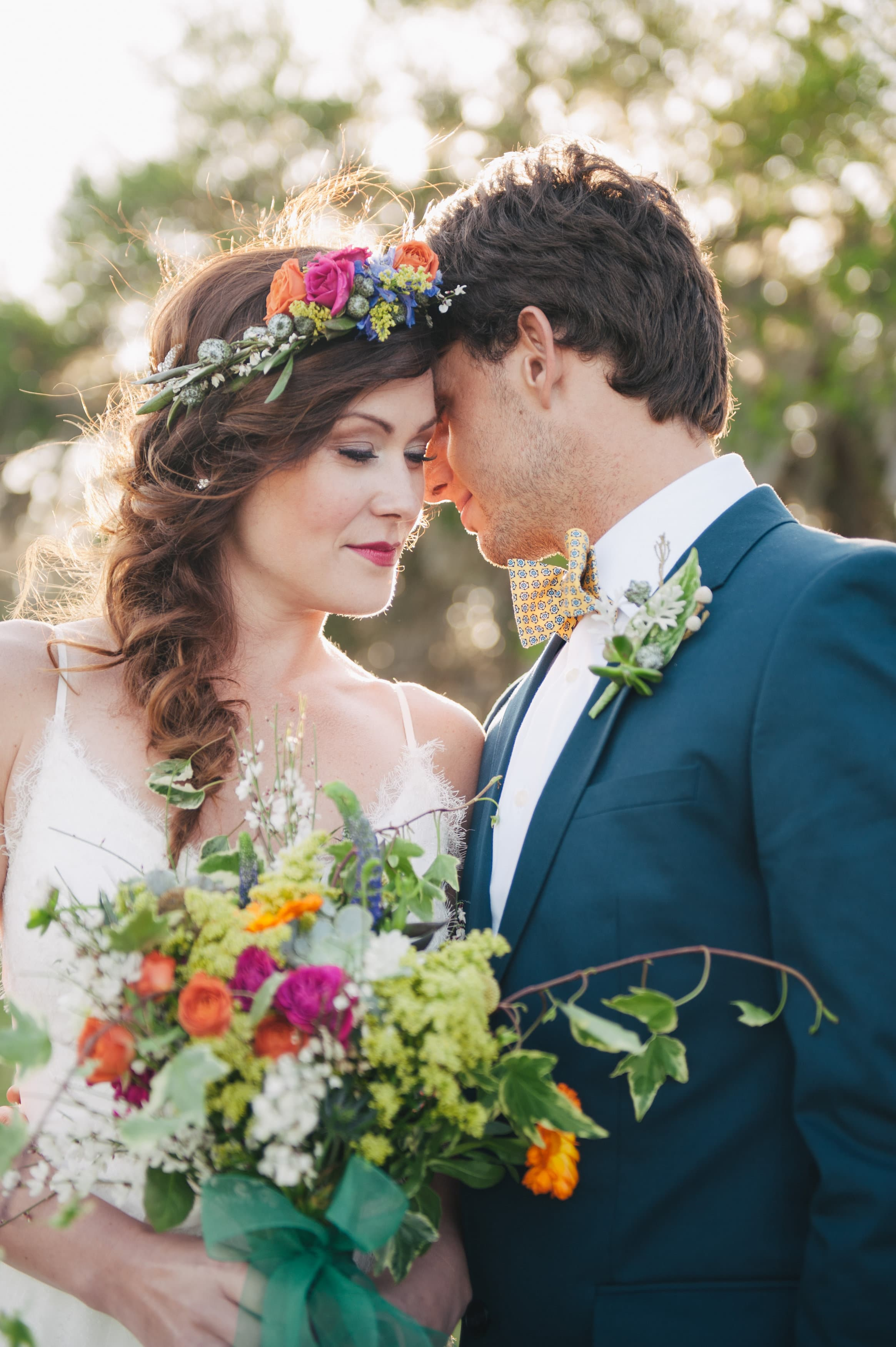 Beautiful Boho Wedding Bouquet Couple