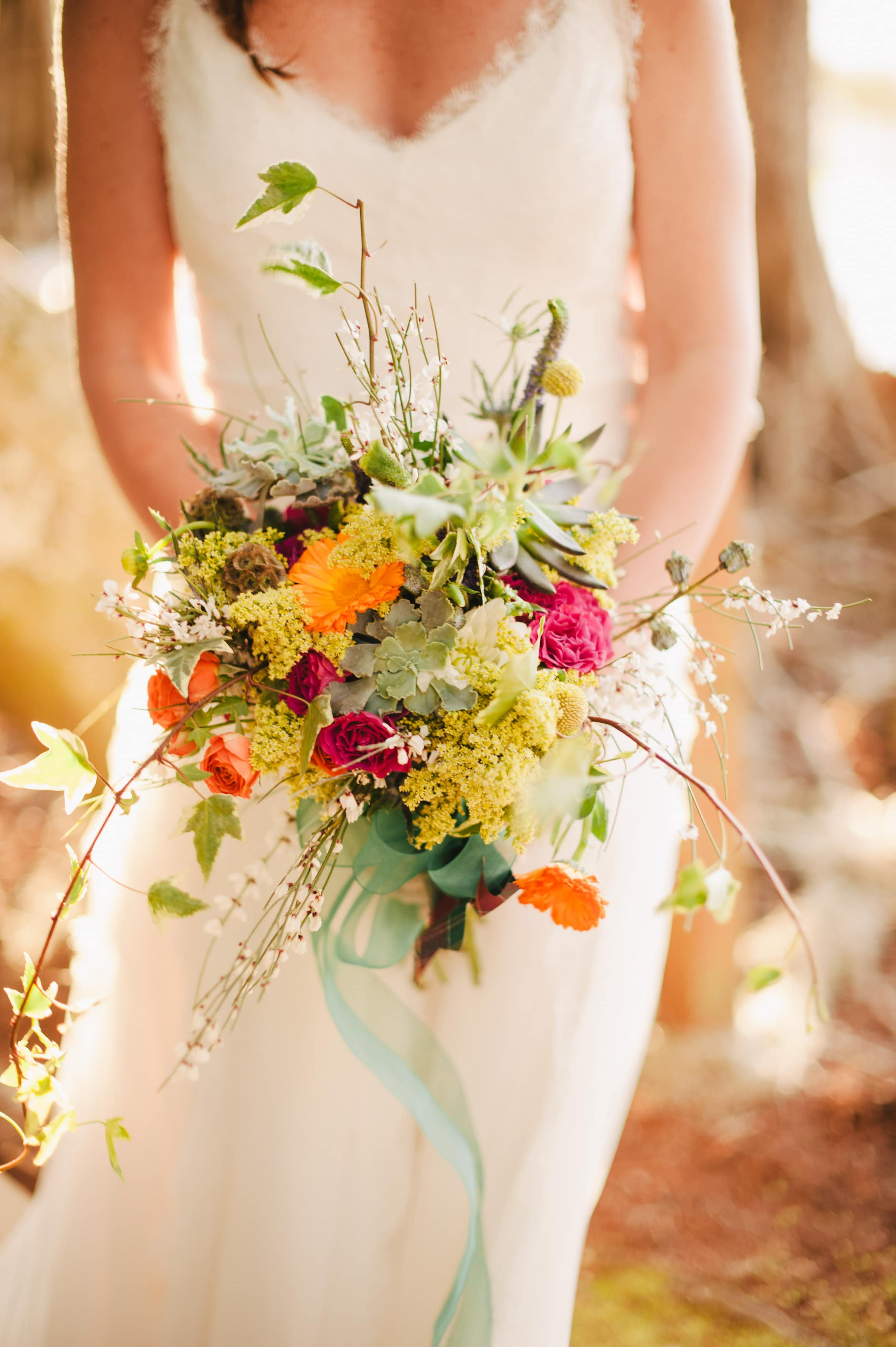 Beautiful Boho Wedding Bouquet Close Up