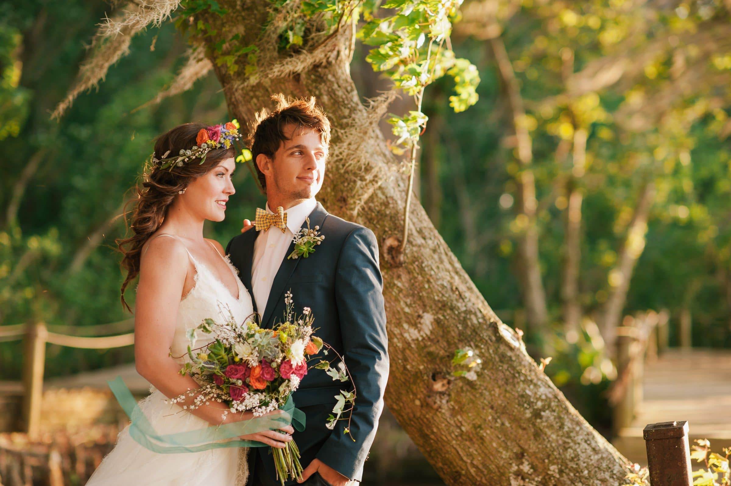 Beautiful Boho Wedding Bouquet Bride and Groom in the Woods