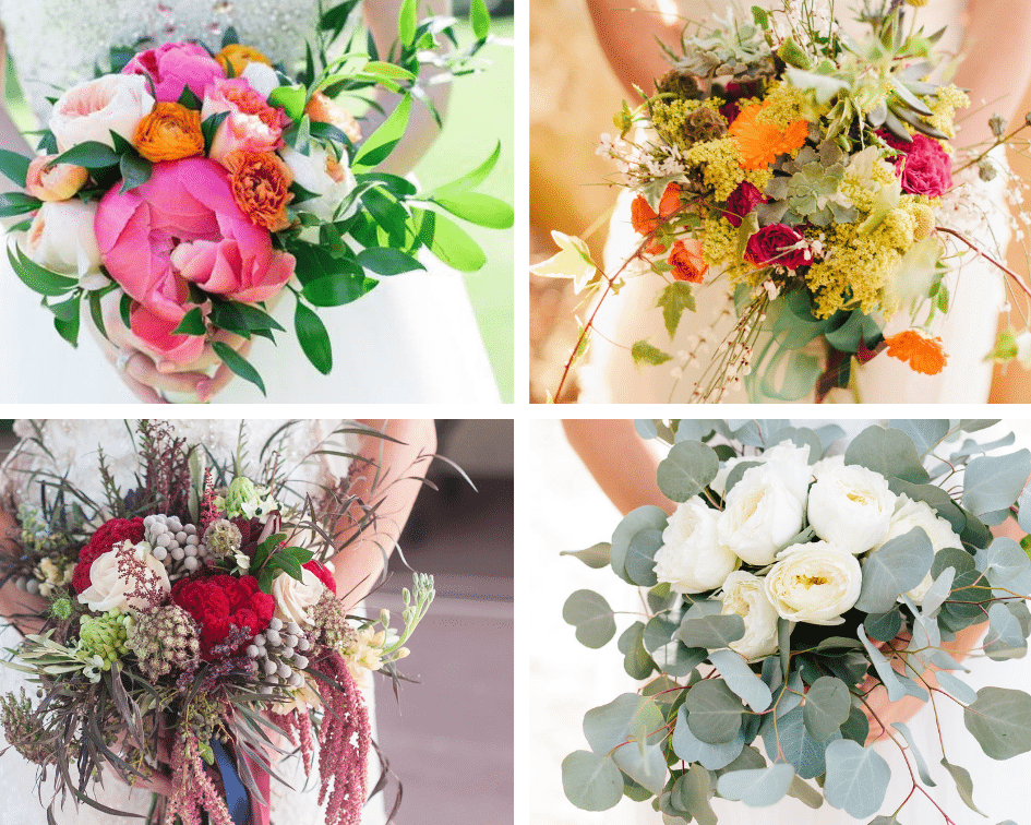 Four Wedding Bridal Bouquets