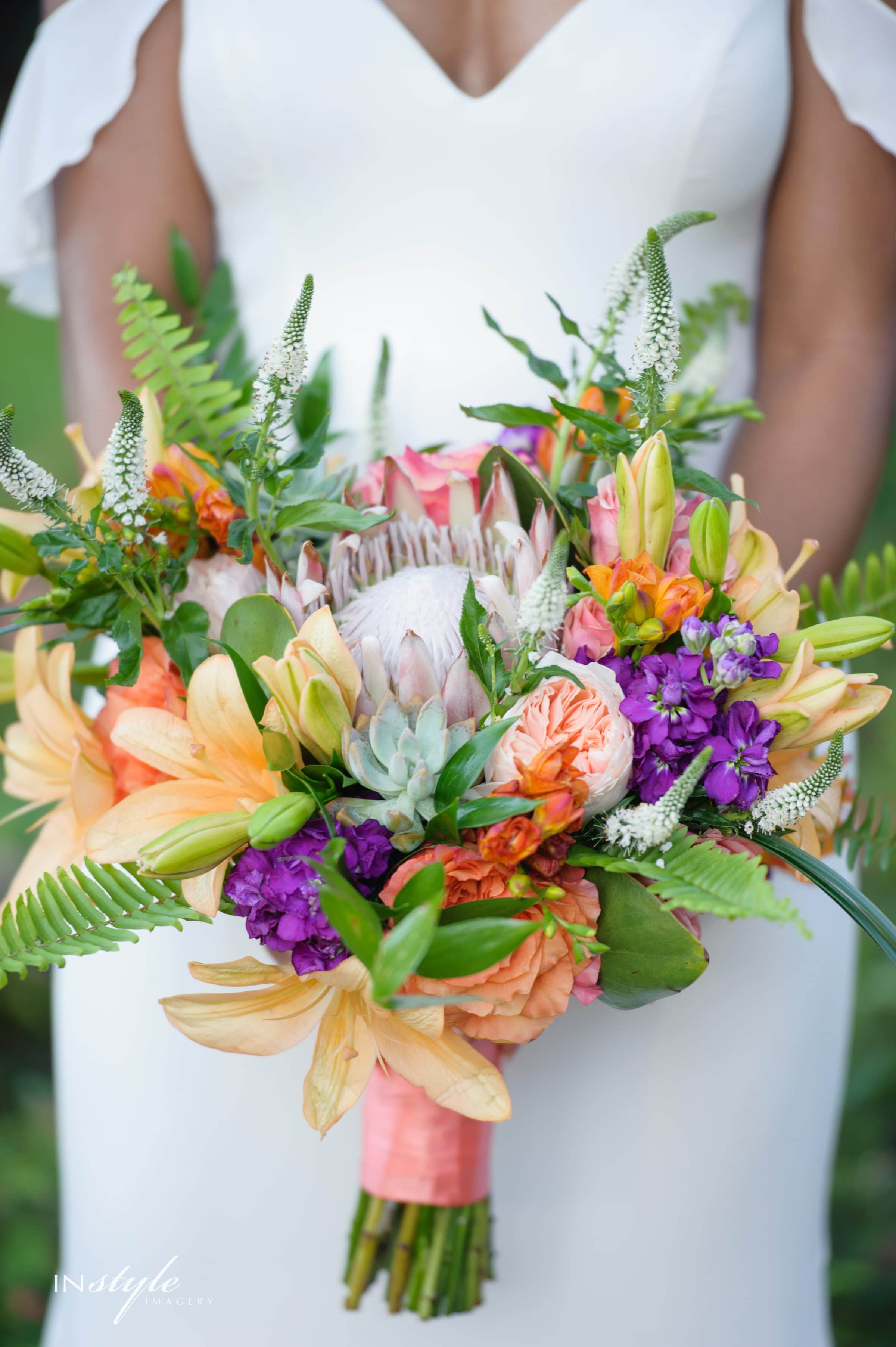 Bride Holding Palm Springs Inspired Wedding Bouquet