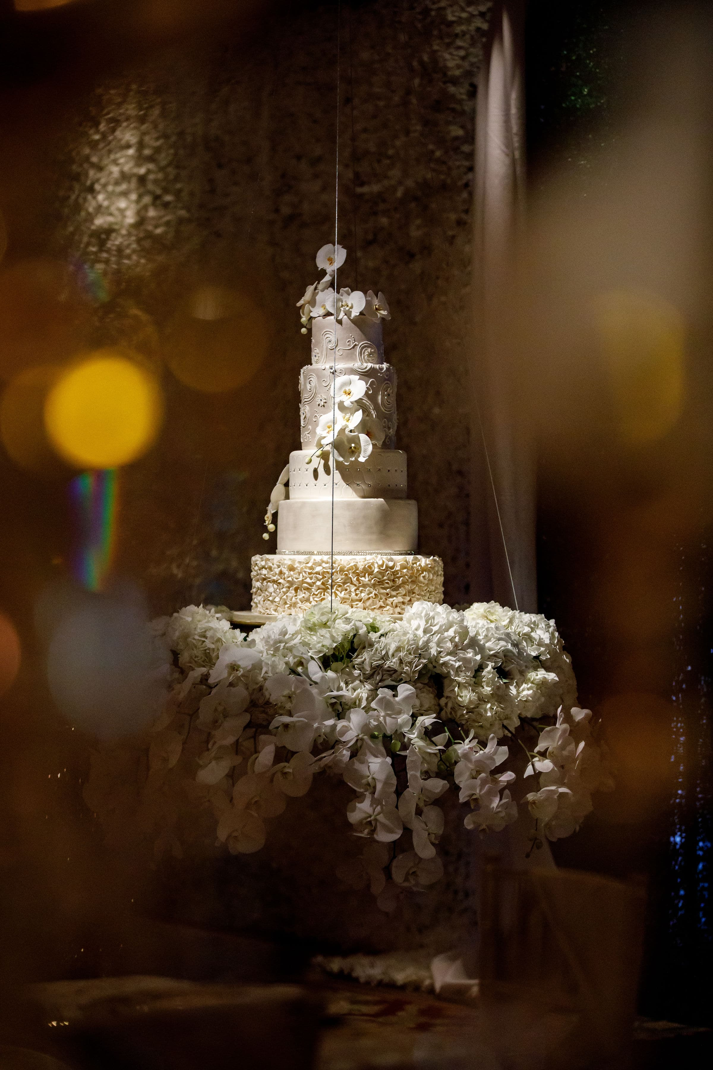 Dramatic Five Tier Wedding Cake with Fresh Floral