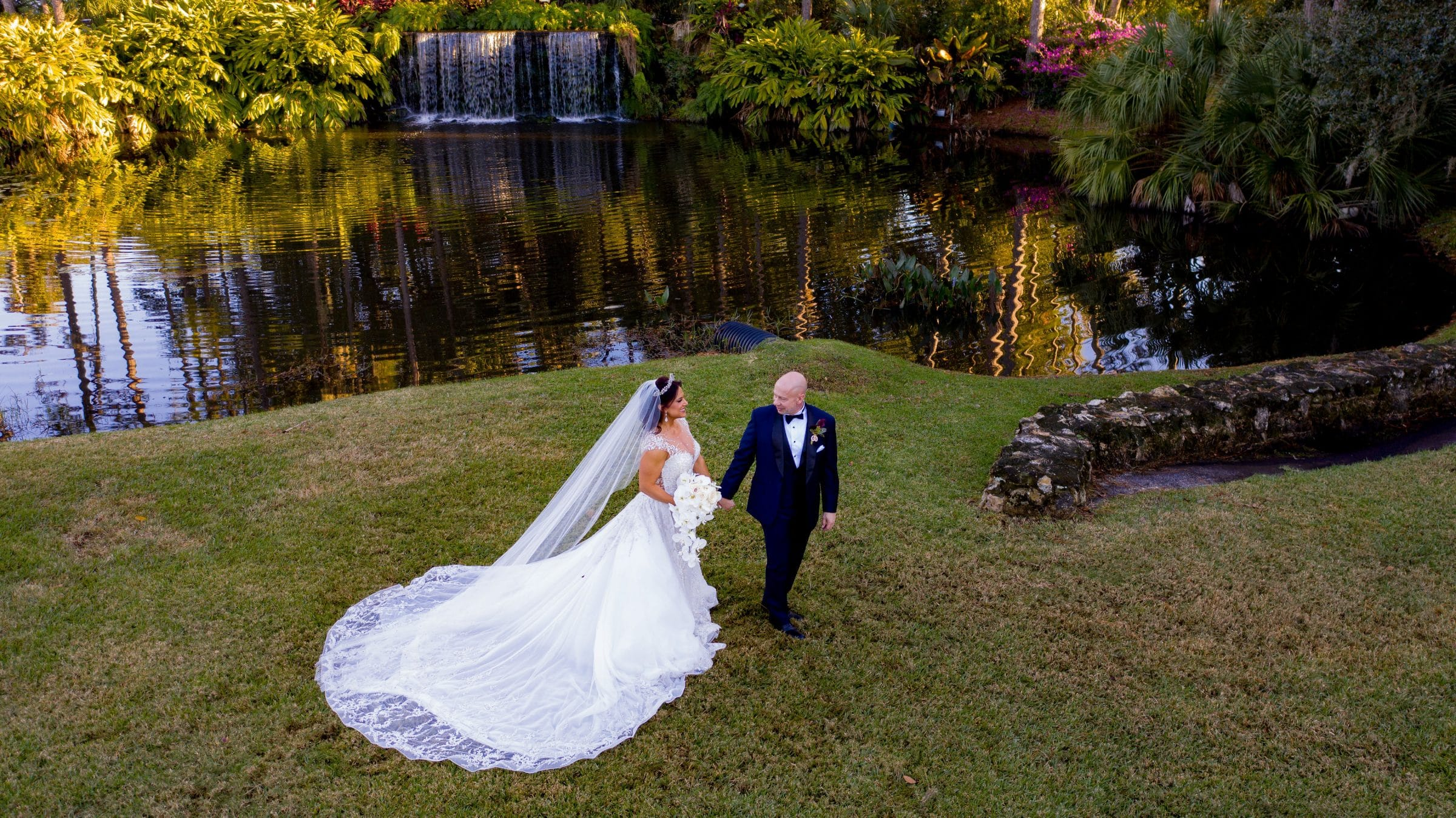 Bride and Groom at Mission Inn Waterfall