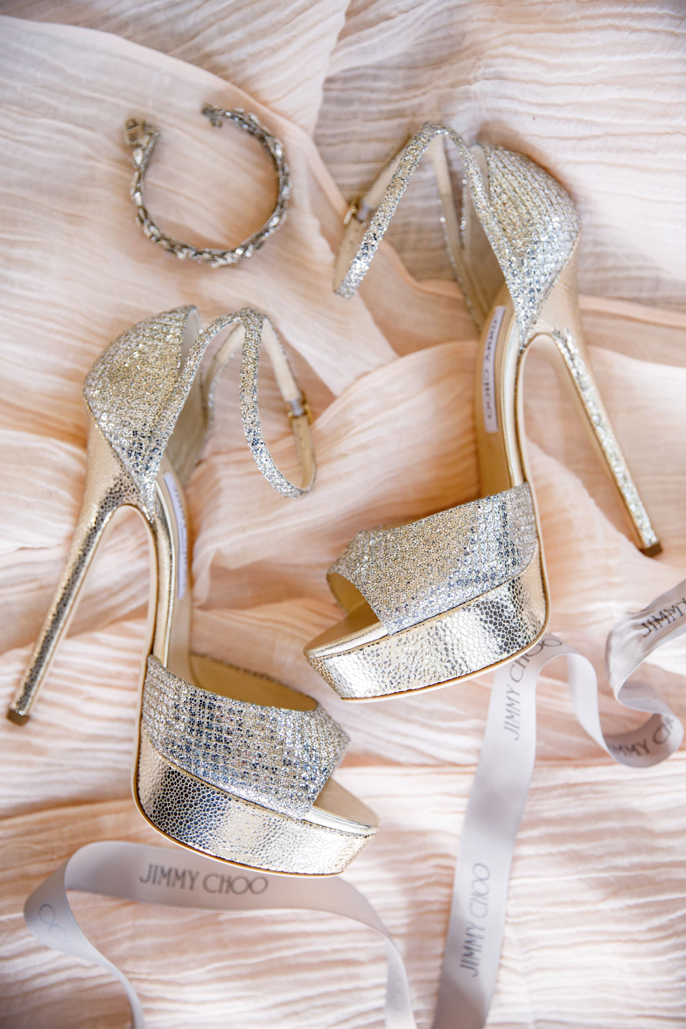 Wedding Shoes and Jewlery on Pink Satin